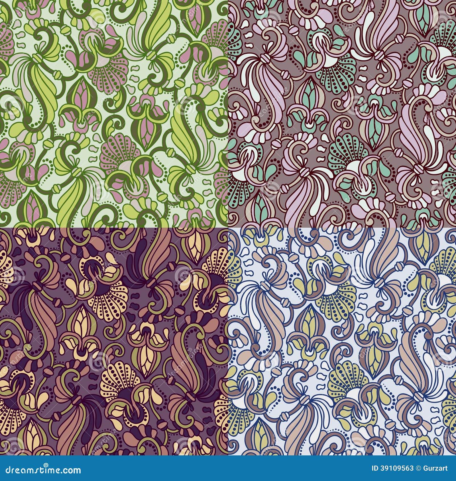 Reeks van vier kleurrijke naadloze patronen. Eps-8.