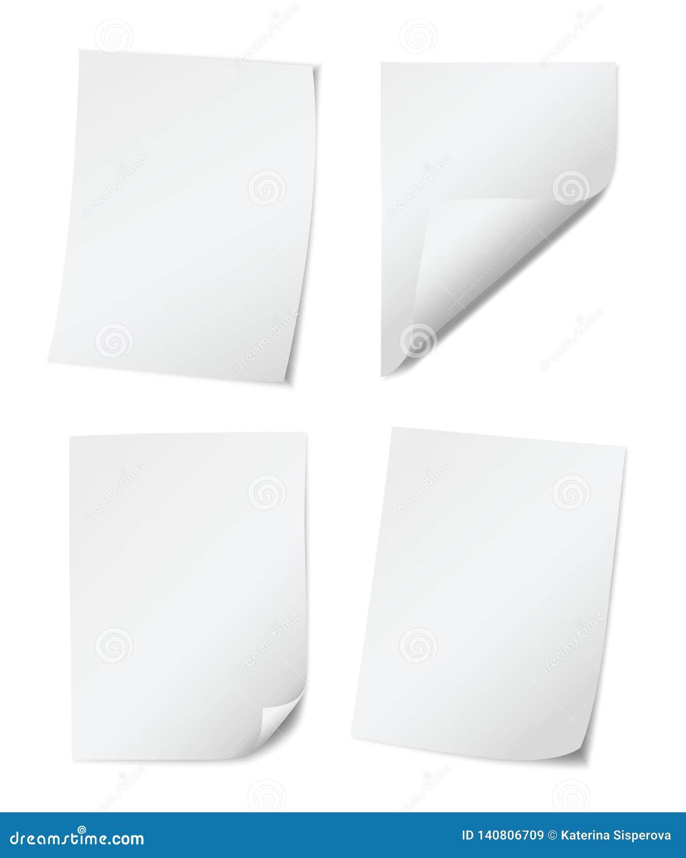 Reeks van vier witte empy document pagina s met gerolde randen op witte achtergrond