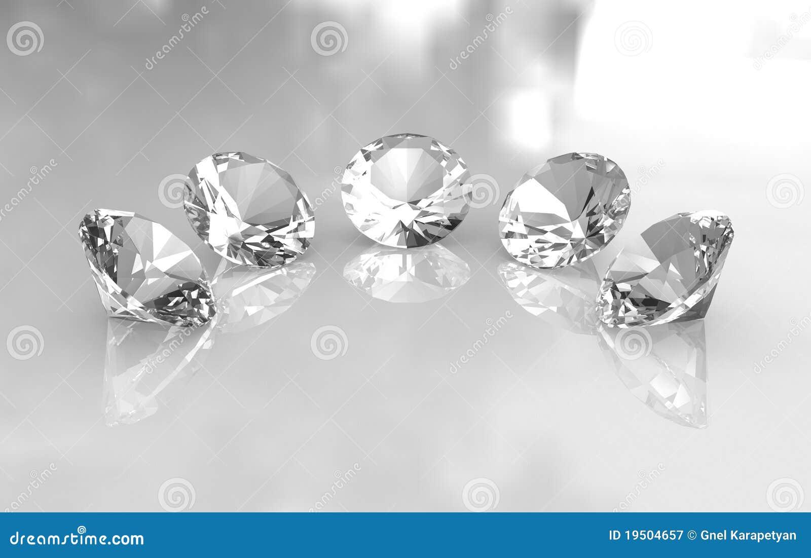 Reeks van vijf mooie ronde diamanten
