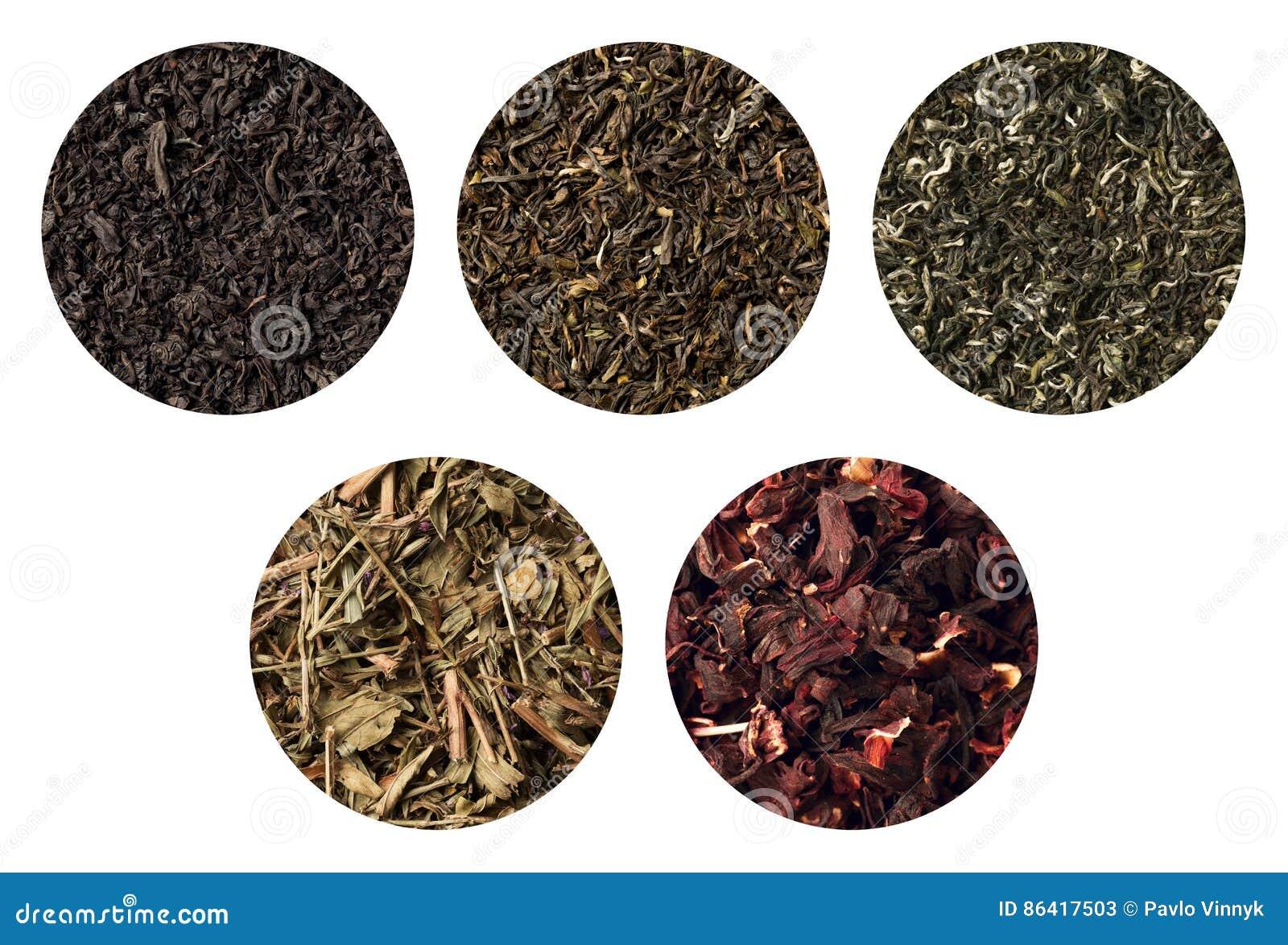 Reeks van vijf verschillende theetexturen darjeeling zwarte, groene Sally, en carcade