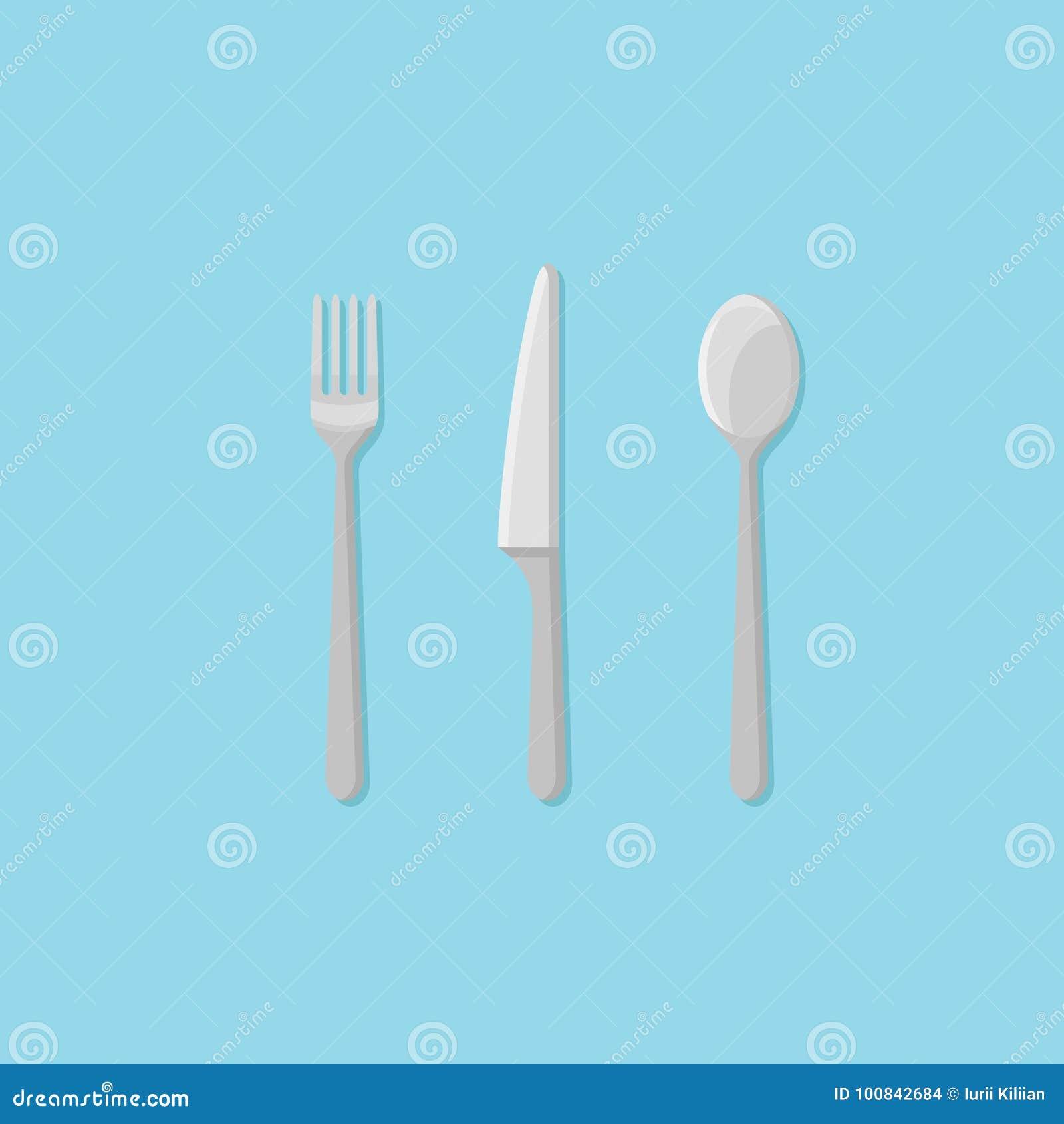 Reeks van vork, lepel en mes Pictogram van de bestek het vlakke stijl Vector illustratie