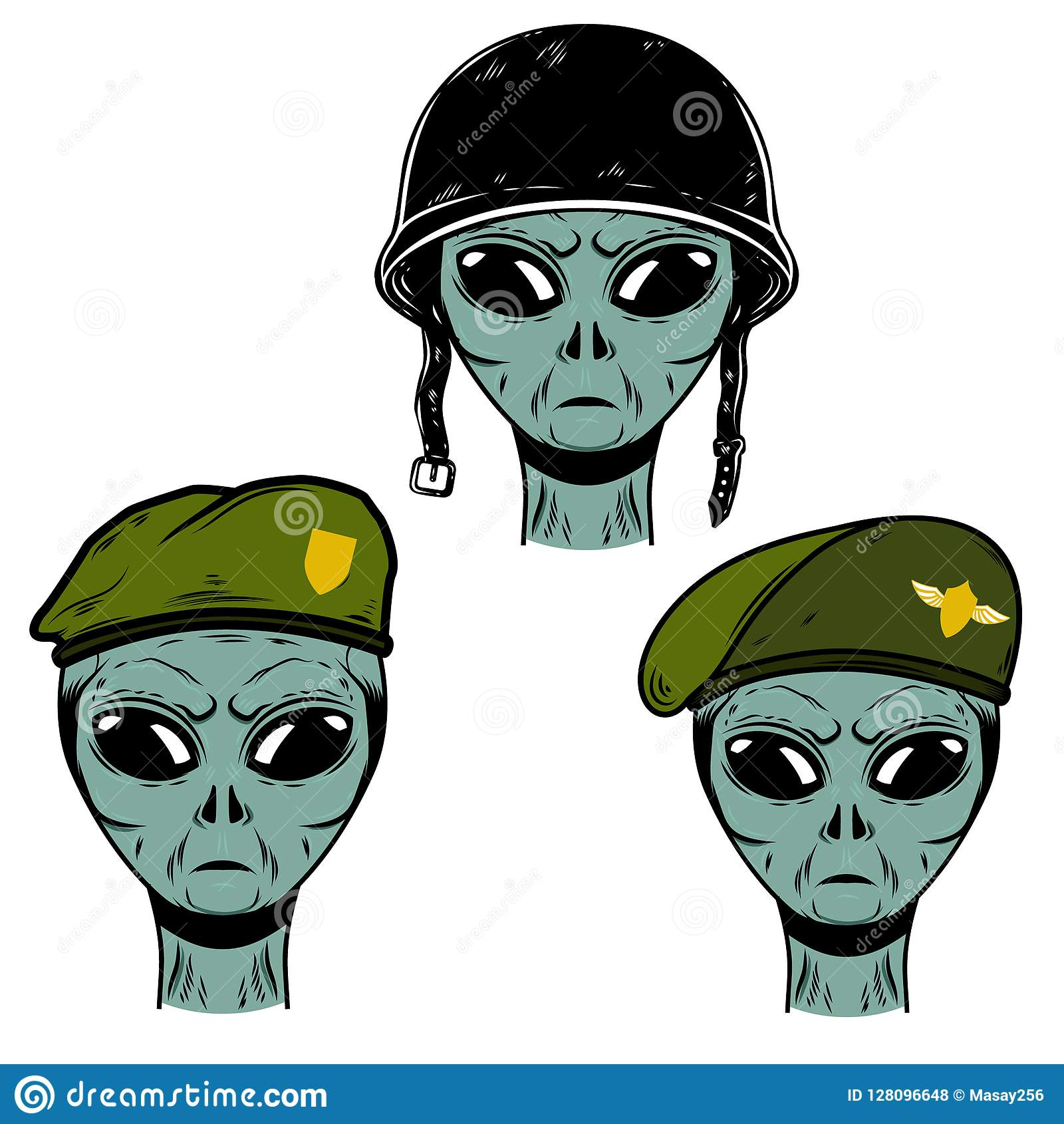 Reeks van vreemde militair in slaghelm en valschermjagerbaret Ontwerpelement voor embleem, etiket, embleem, teken, affiche, t-shi