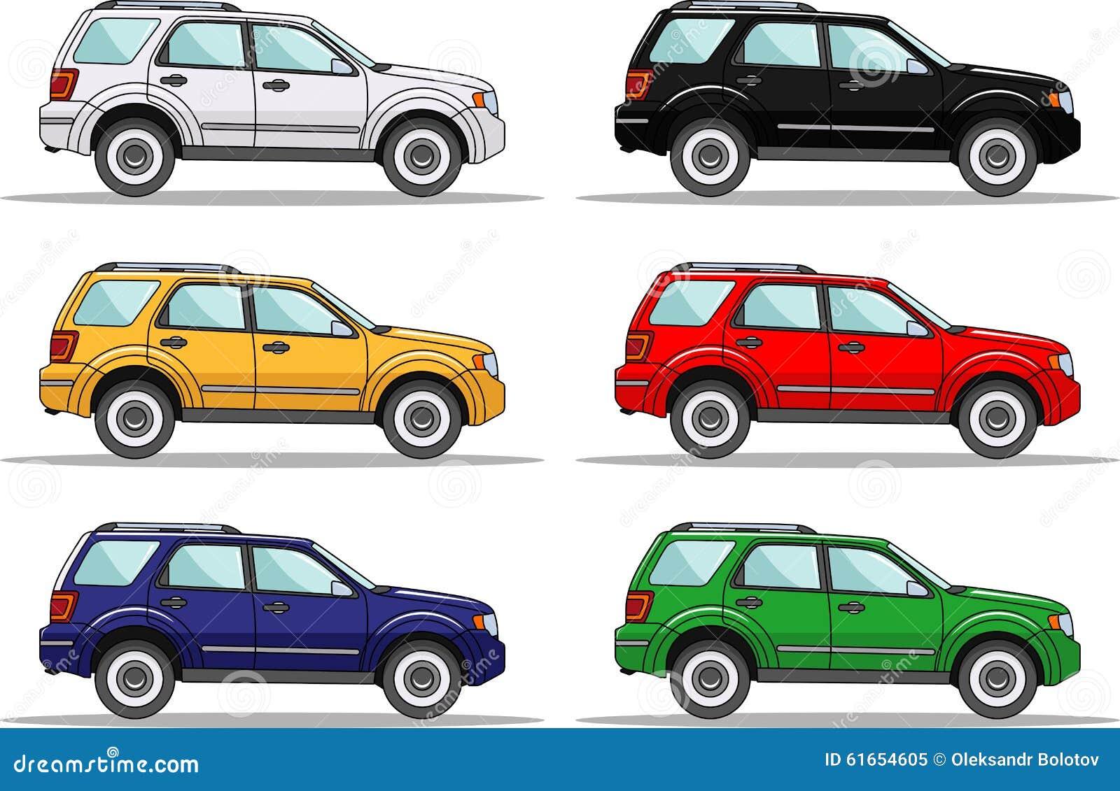 Reeks Van Zes Gekleurde Auto S Op Wit Vector Illustratie Illustration Of Symbool Beeldverhaal 61654605