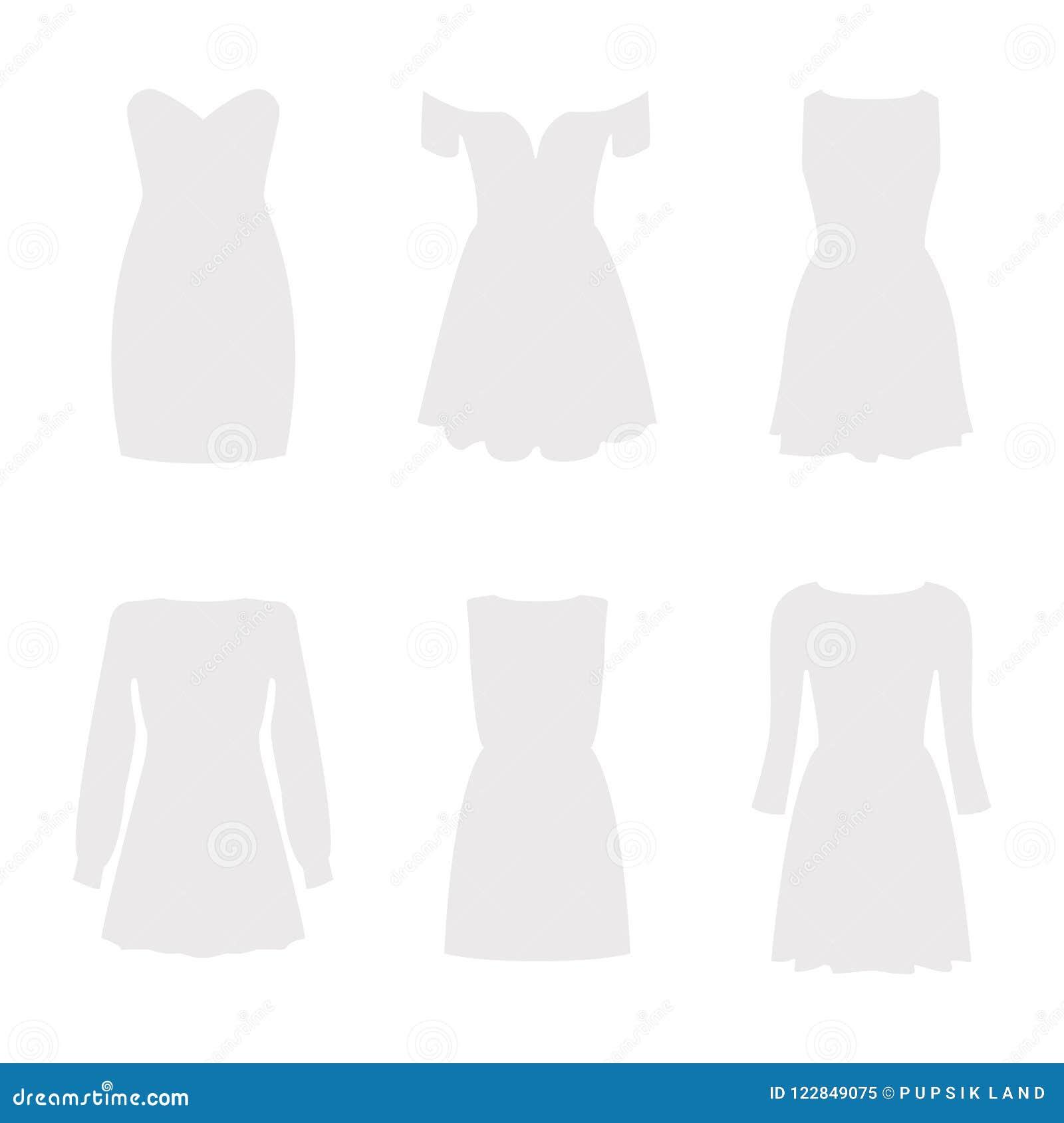 Reeks van zes silhouetten van kleding