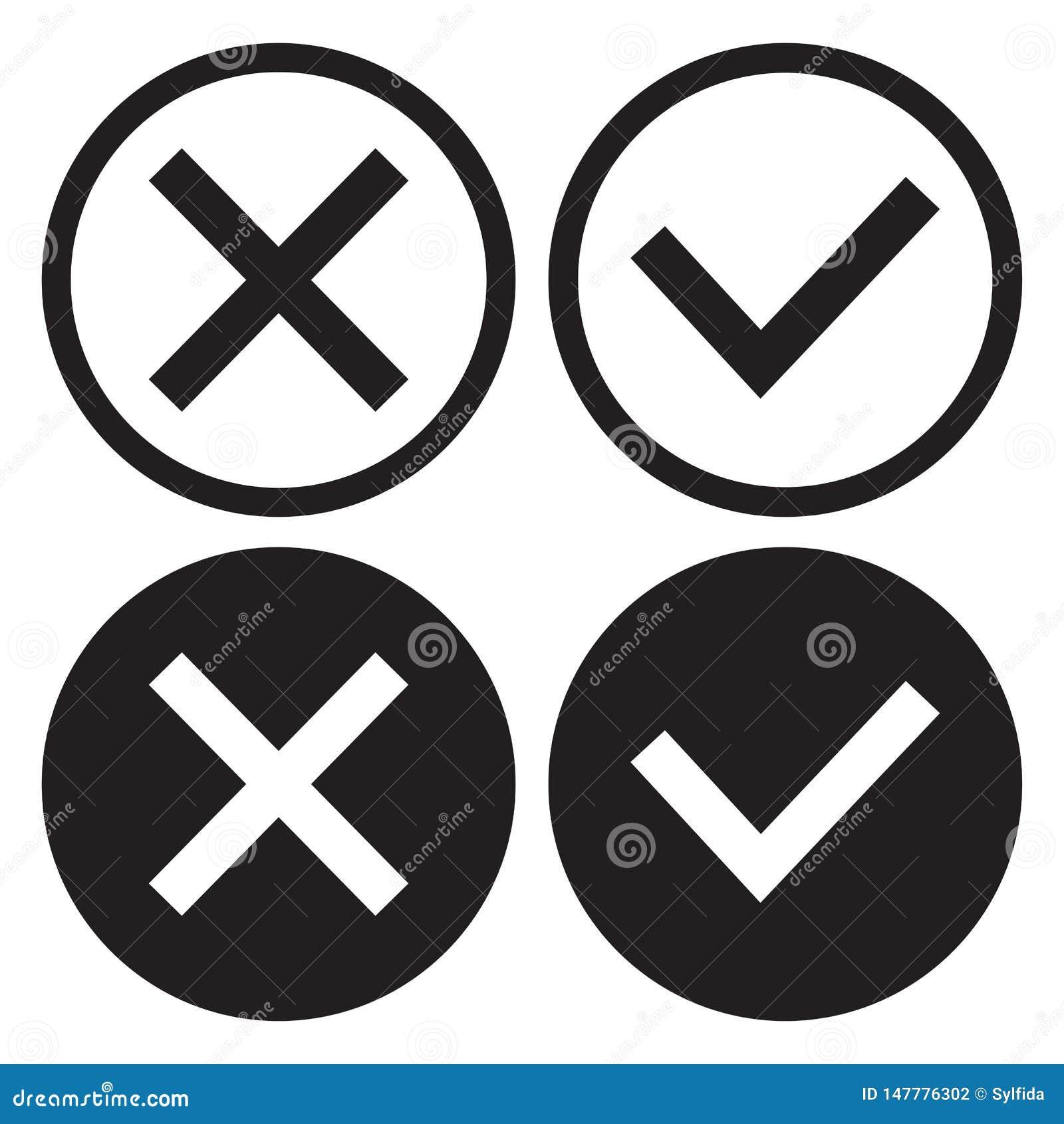 Reeks van zwart-witte pictogramknopen, overzicht en vlak ontwerp Bevestiging en verwerping Ja en Nr Vector