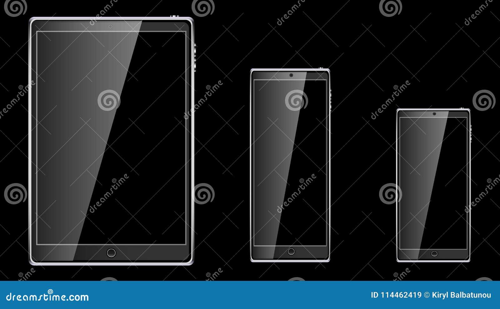 Reeks van zwarte realistische mobiele de aanrakings slimme mobiele telefoon van de tabletcomputer, smartphone met het glanzende l