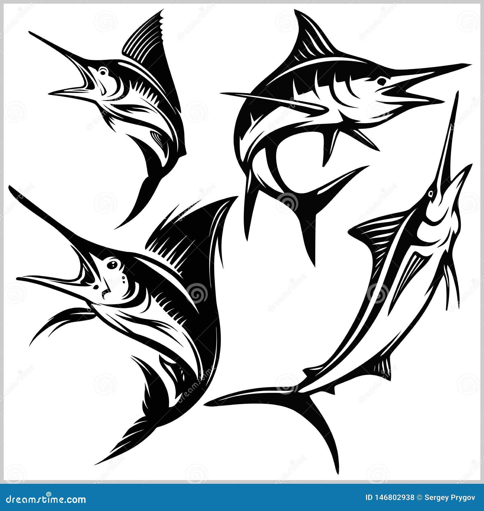 Reeks vector blauwe marlijnvissen