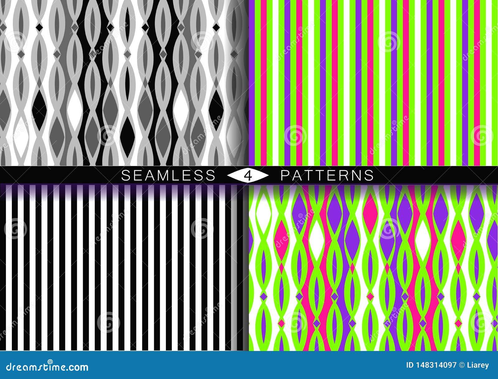 Reeks vector naadloze patronen Eindeloze texturen in zwart-wit plastic roze groen UFO en proton purpere kleuren