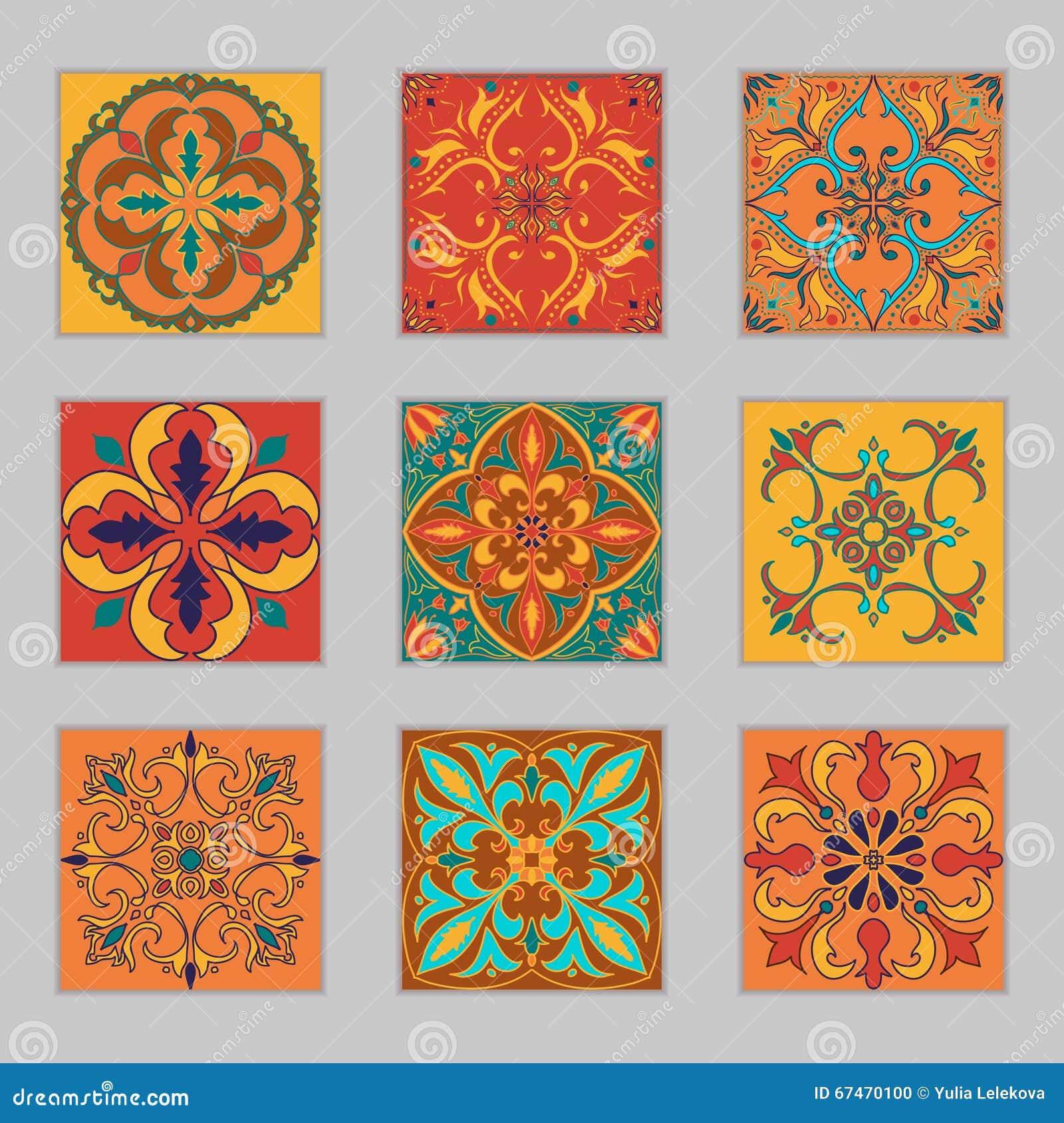 Reeks vector portugese tegels mooie gekleurde patronen voor ontwerp en manier met decoratieve - Marokkaanse design decoratie ...