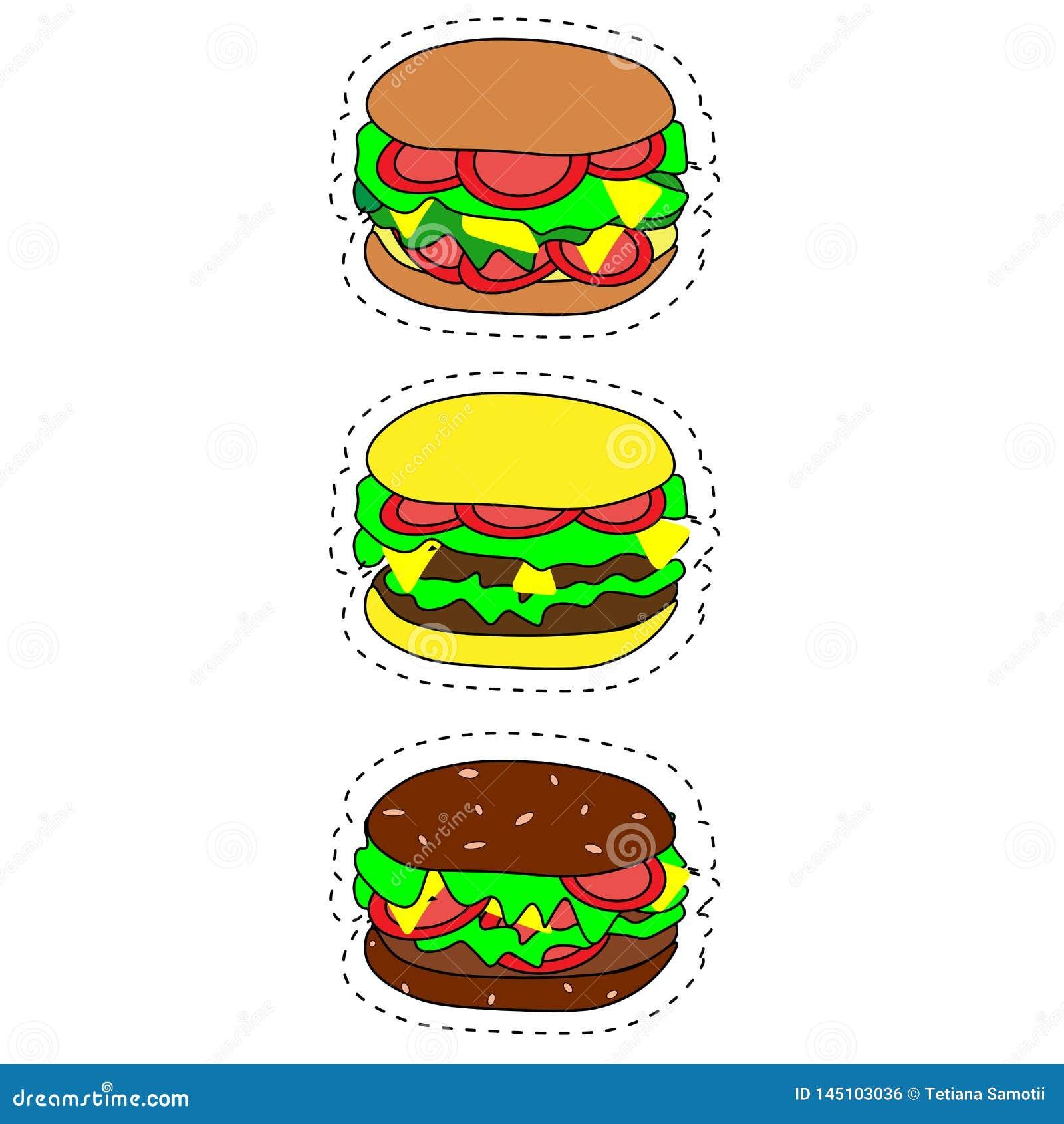 Reeks vector snel voedselpictogrammen Hamburger, cheeseburger, dubbele hamburger, hamburger met sla, ui, tomaat, komkommer en ket