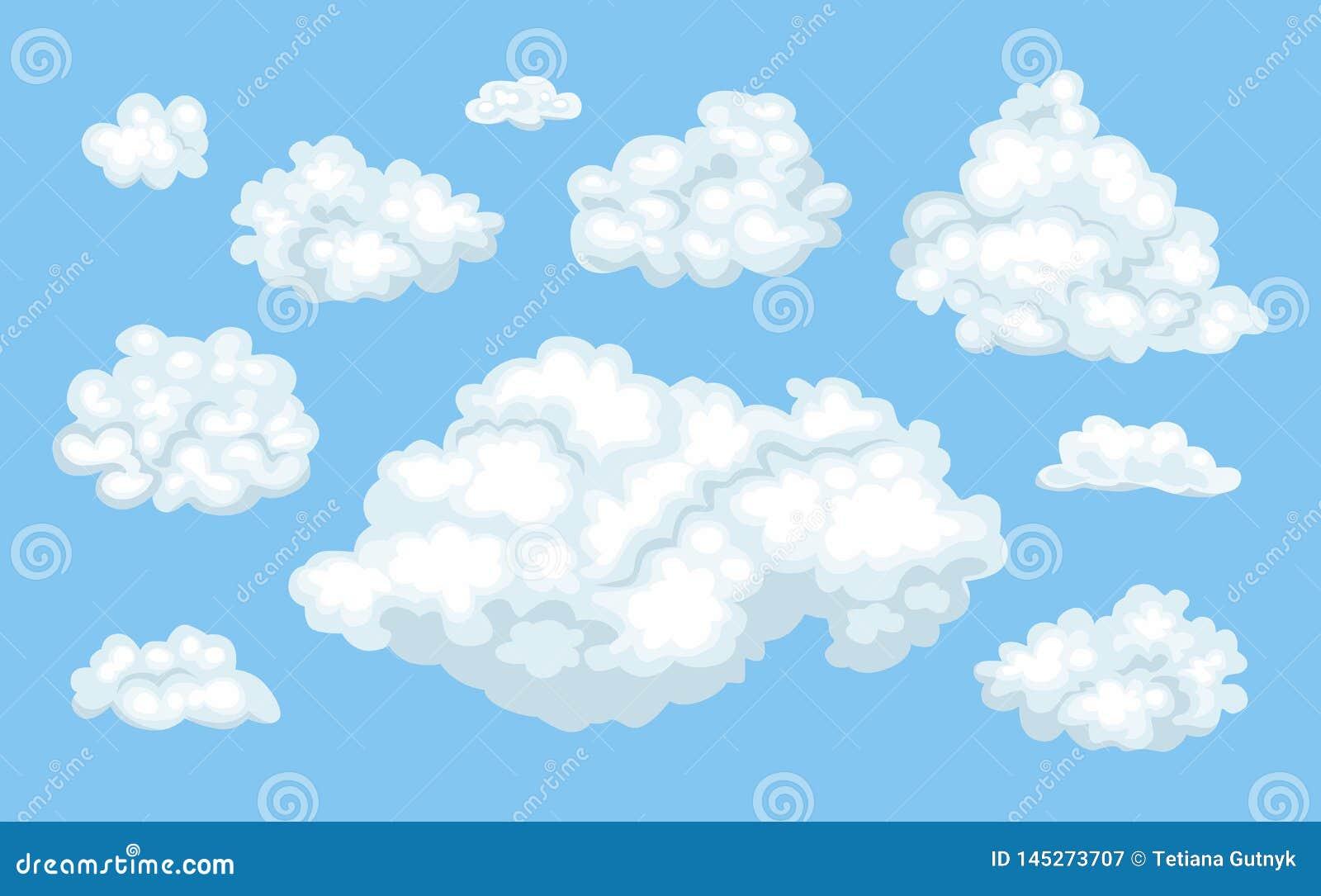 Reeks vectorbeeldverhaalwolken op blauwe achtergrond