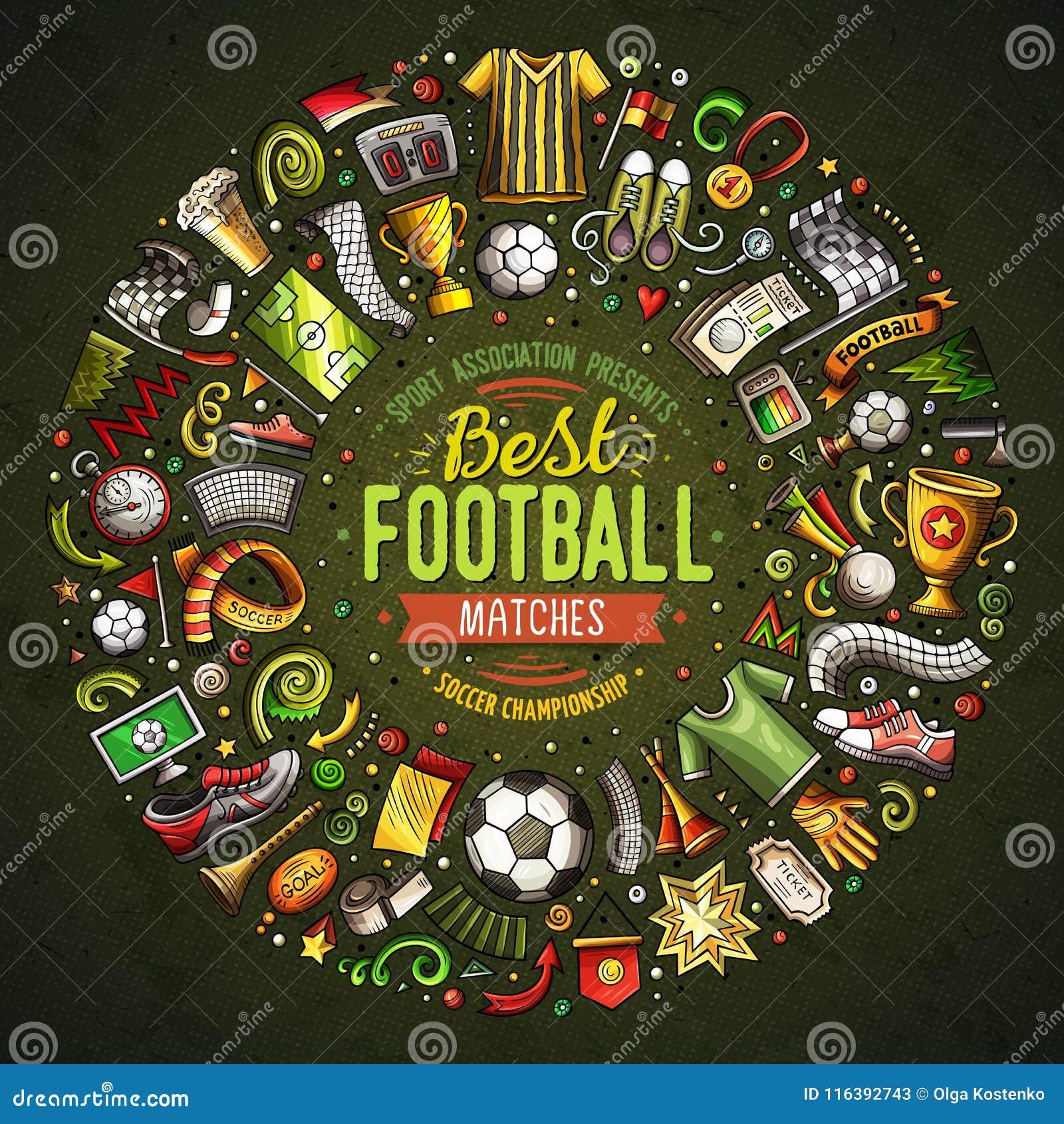 Reeks vectordie de Voetbalvoorwerpen van de beeldverhaalkrabbel in een ronde grens worden verzameld