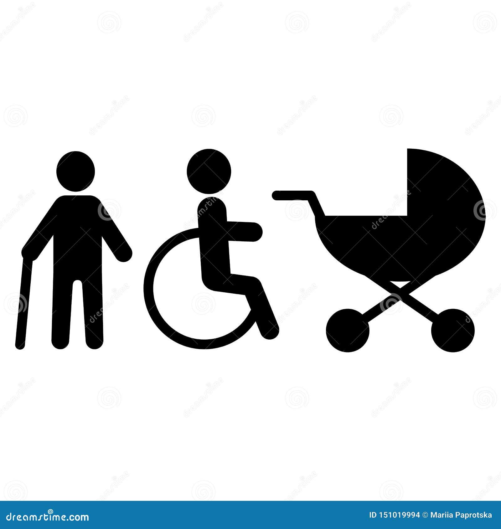 Reeks Vectorlijnpictogrammen in verband met gehandicapten Omvat dergelijke Pictogrammen zoals gehandicapten, steunpilaren, blind