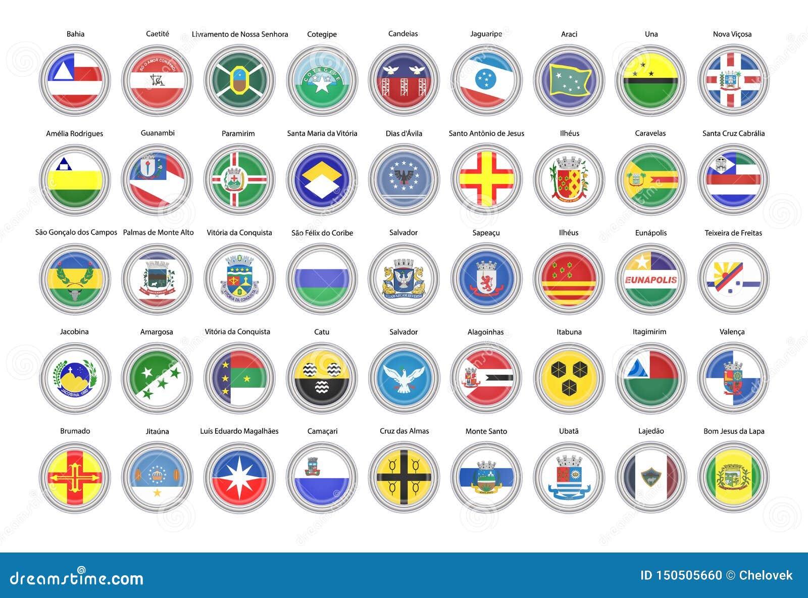 Reeks vectorpictogrammen Vlaggen van de staat van Bahia, Brazilië