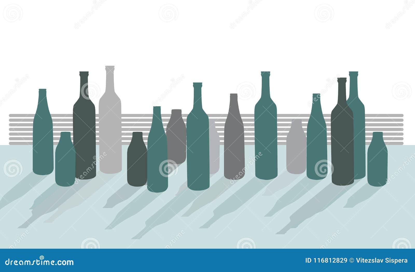 Reeks vectorsilhouetten van flessen op bureau met schaduwen, isola