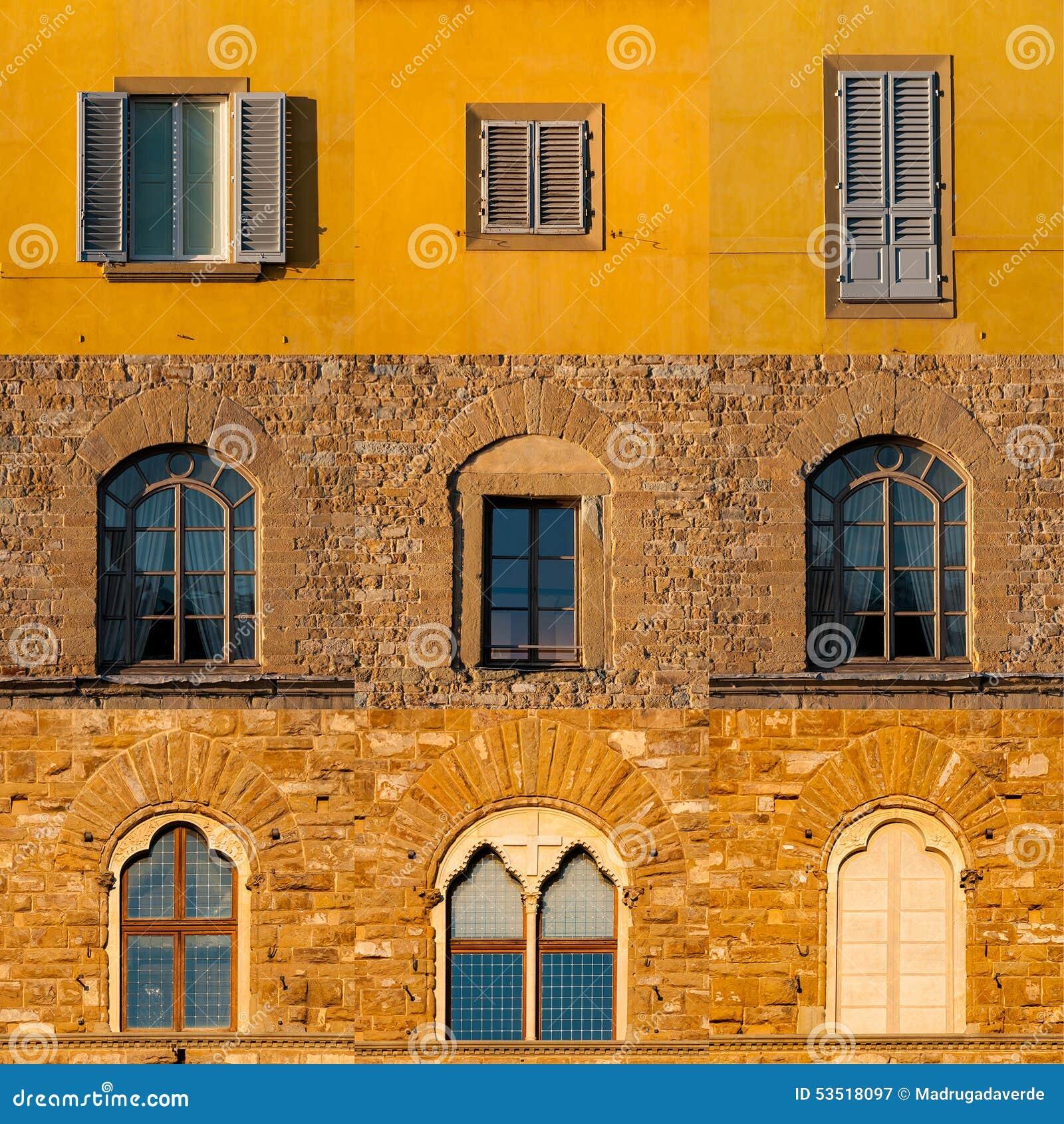 Reeks vensters van oude gebouwen in Florence