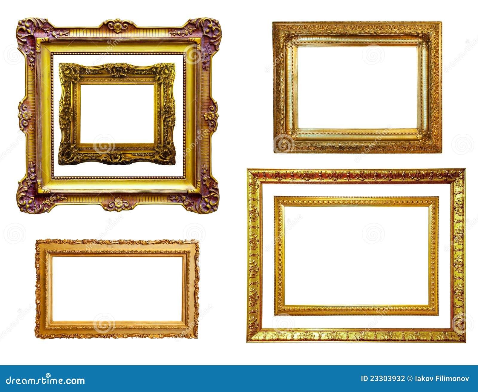 Reeks vergulde frames. Geïsoleerd$ over wit