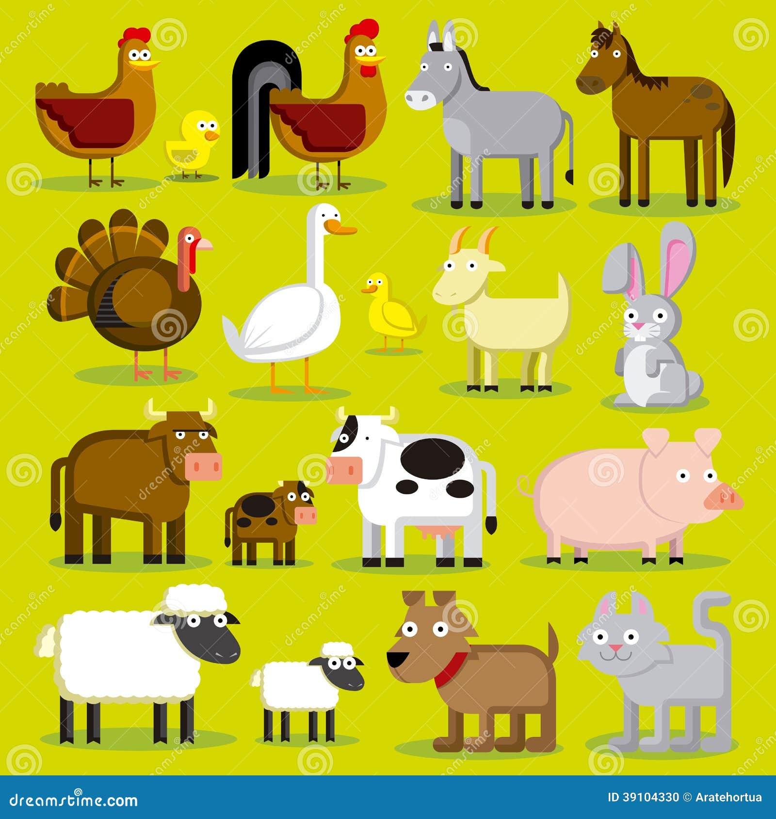 Reeks Verschillende Dieren Geïsoleerde van het Beeldverhaallandbouwbedrijf