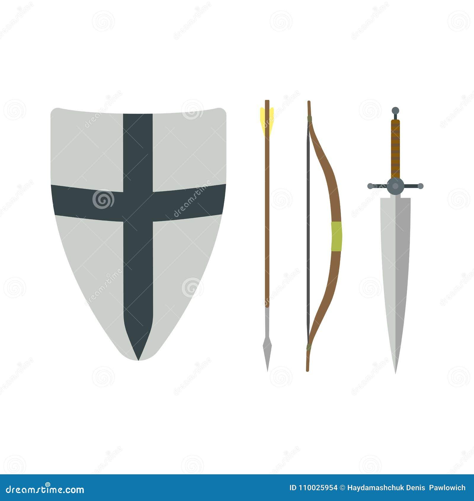 Reeks verschillende middeleeuwse wapens vector vlakke illustraties
