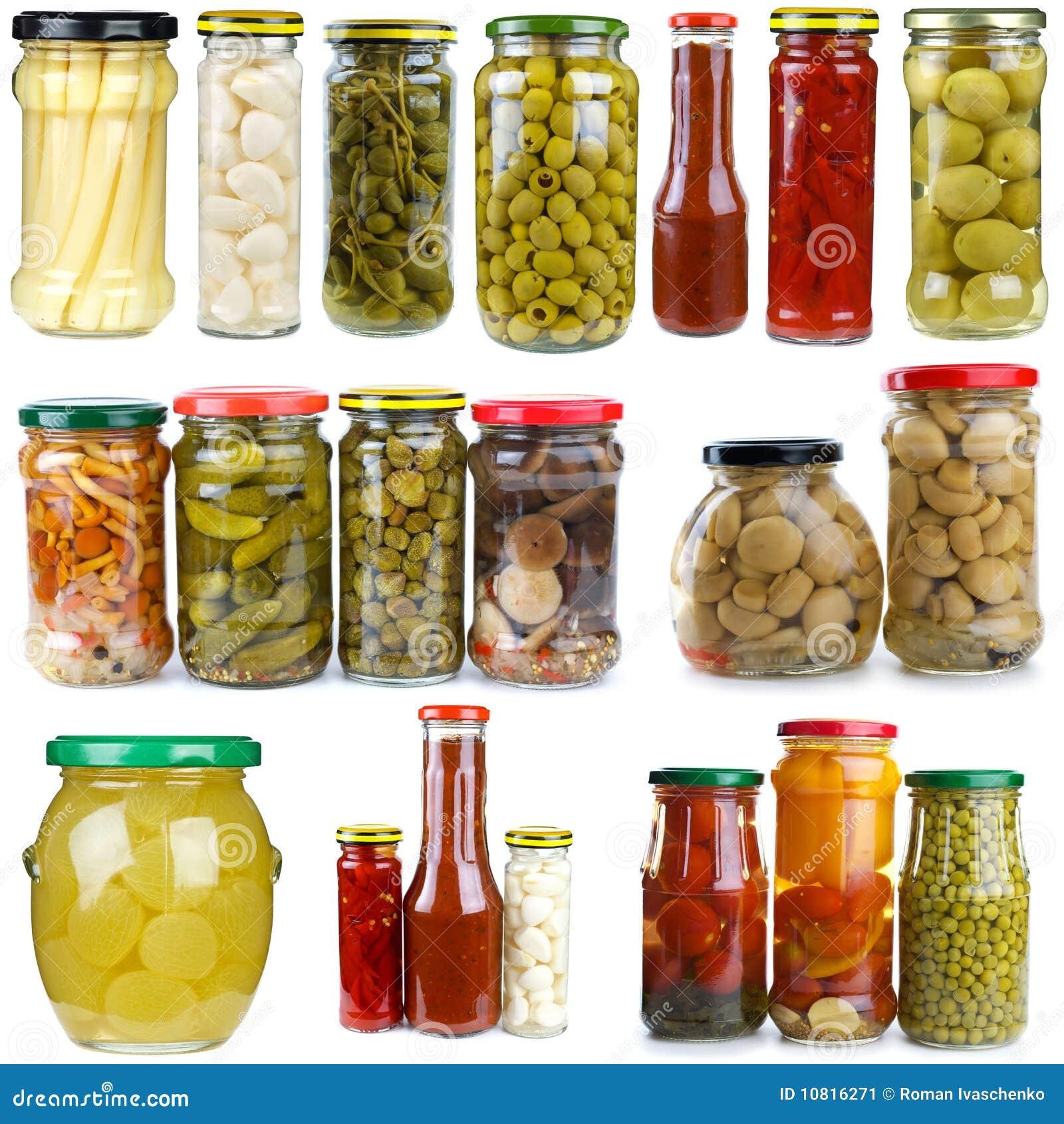 Reeks verschillende vruchten & kruiken van het vegetablesinglas