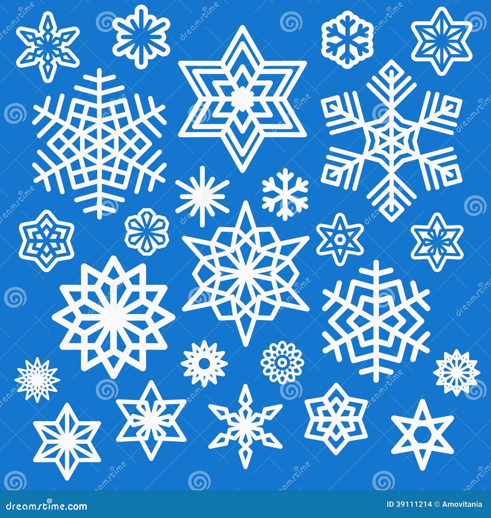 Reeks verschillende witte sneeuwvlokkenpictogrammen