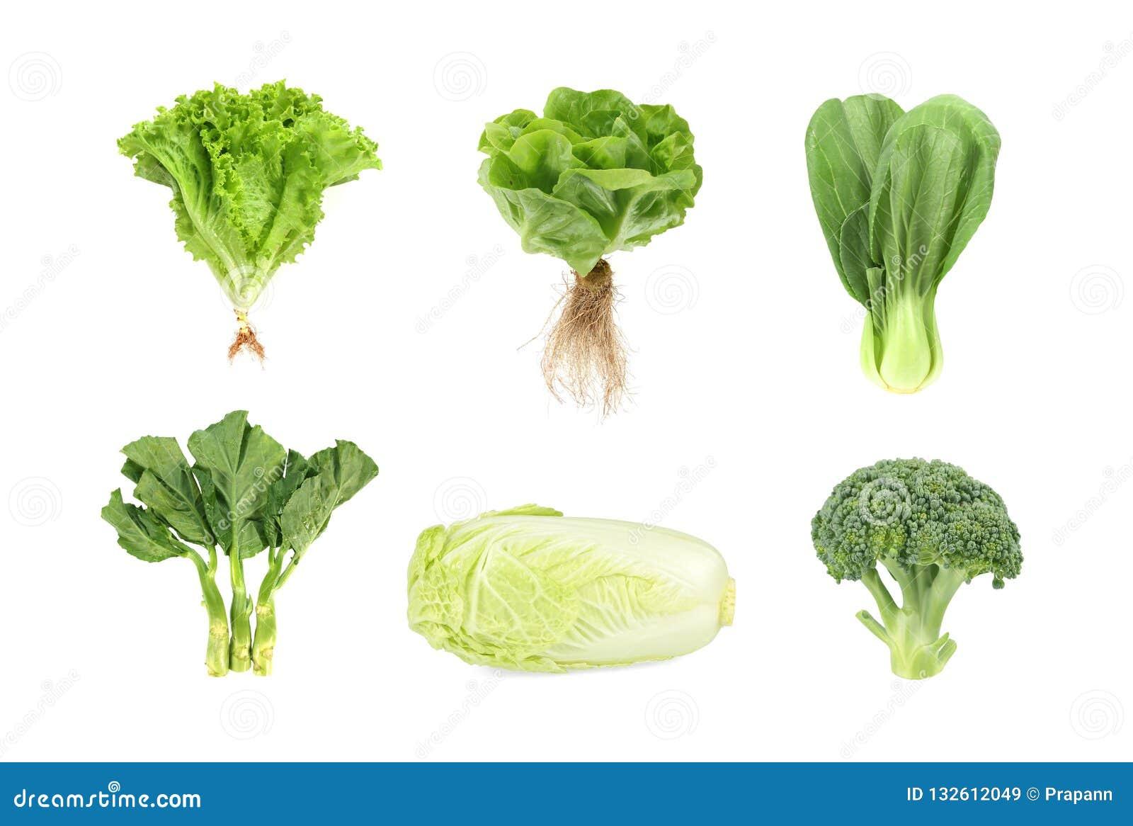 Reeks verse groene die groenten op witte achtergrond wordt geïsoleerd