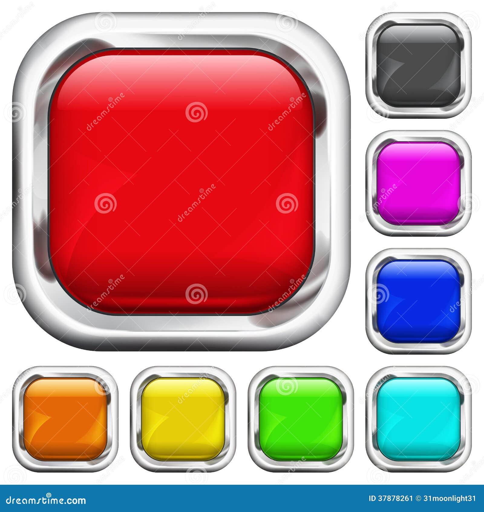 Reeks vierkante multicolored knopen