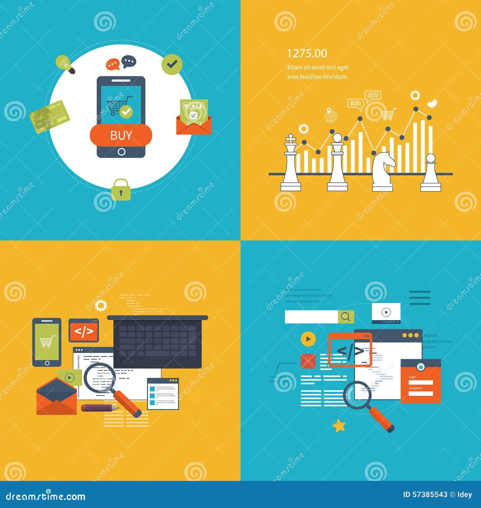 Reeks vlakke concepten van de ontwerp vectorillustratie