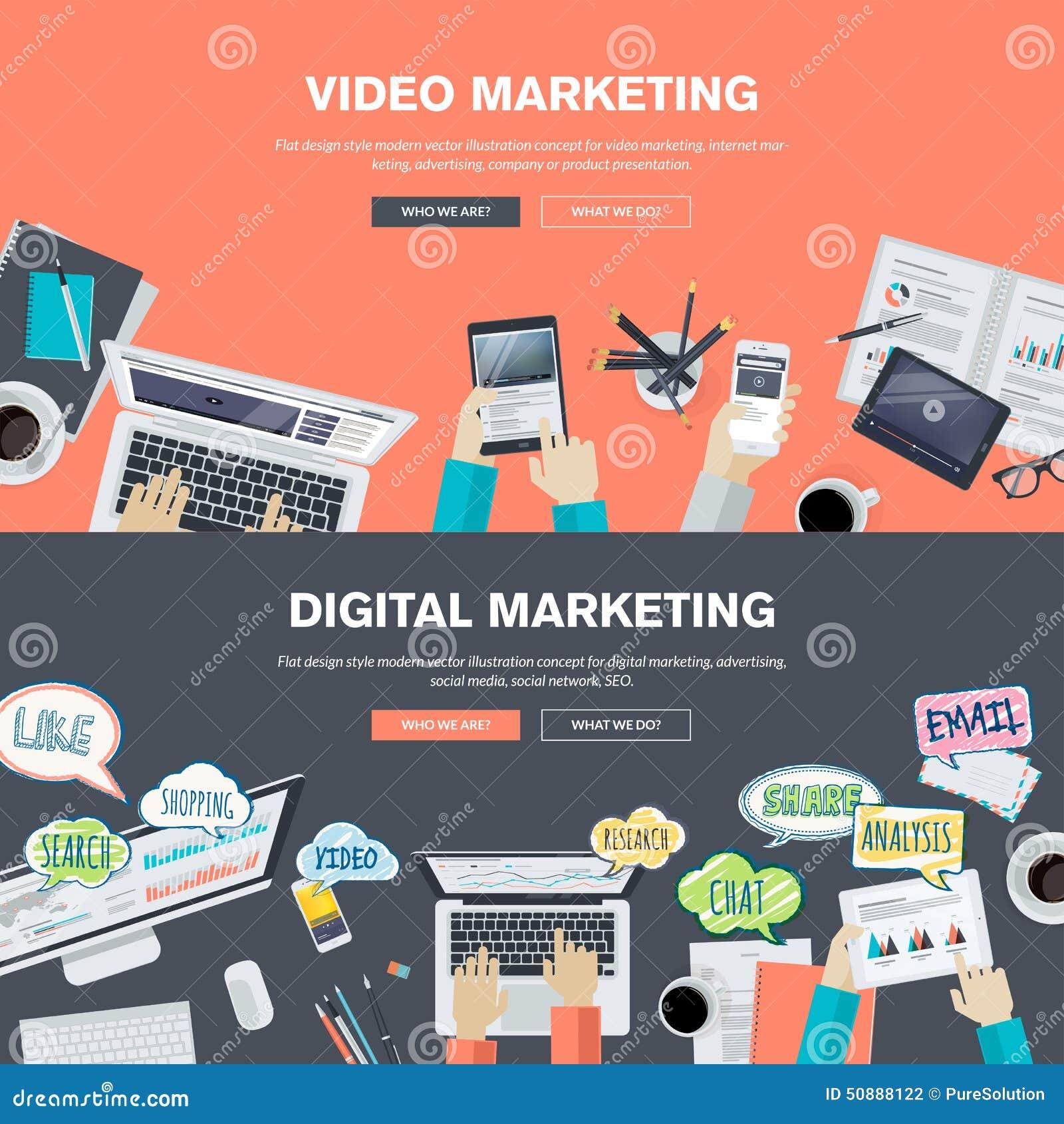 Reeks vlakke concepten van de ontwerpillustratie voor video en digitale marketing