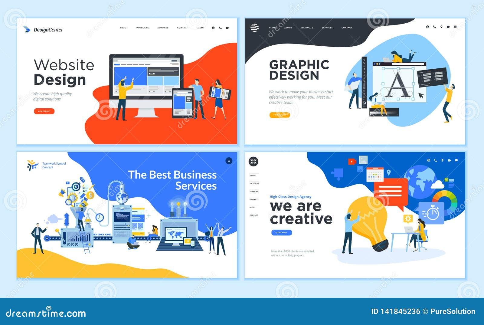 Reeks vlakke malplaatjes van de ontwerpwebpagina