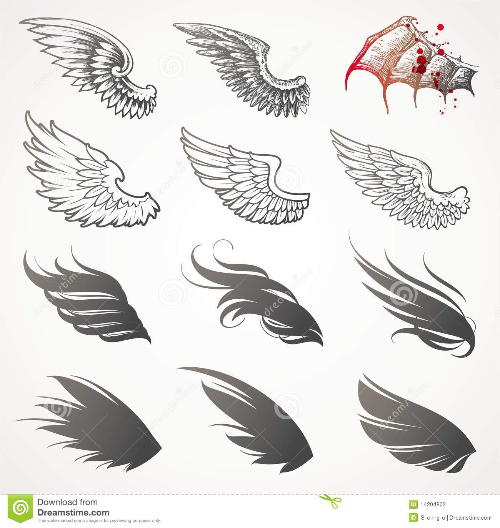 Reeks vleugels.