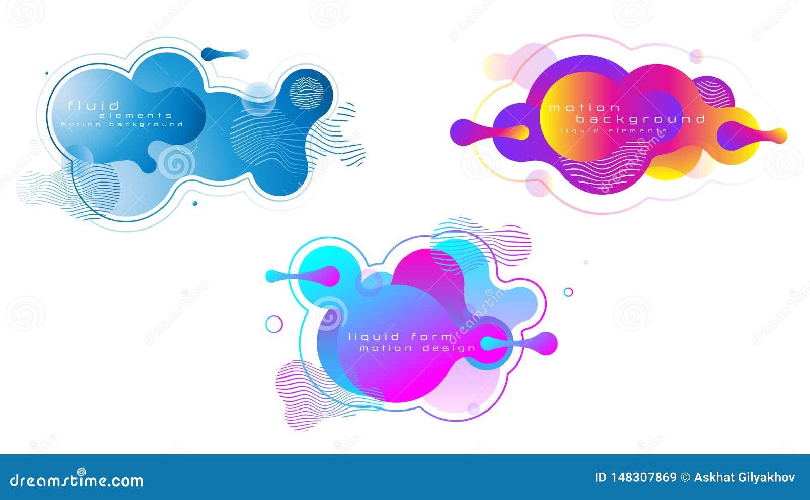 Reeks vloeibare levendige kleuren abstracte geometrische vormen