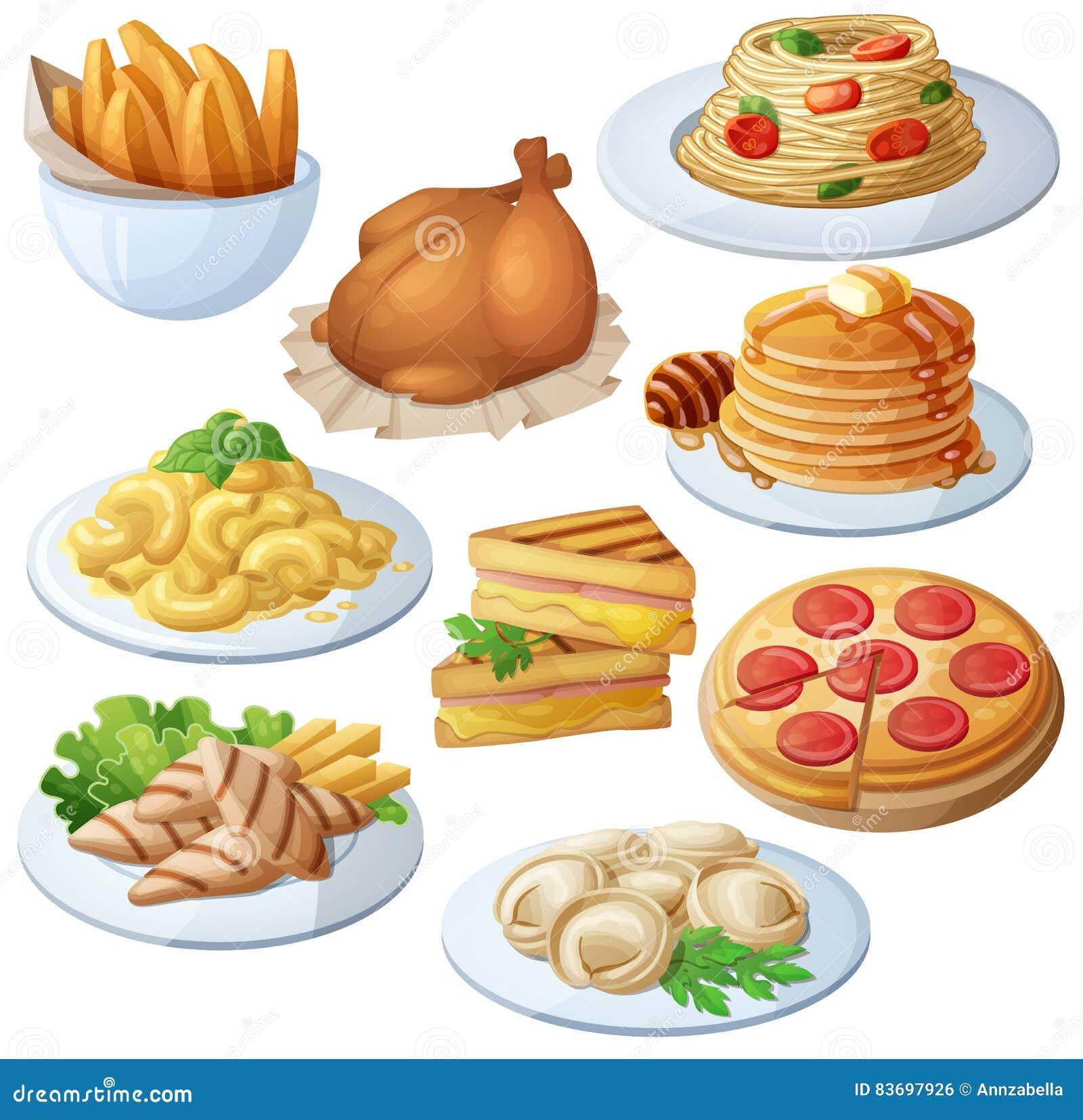 Reeks voedselpictogrammen op witte achtergrond wordt geïsoleerd die diner