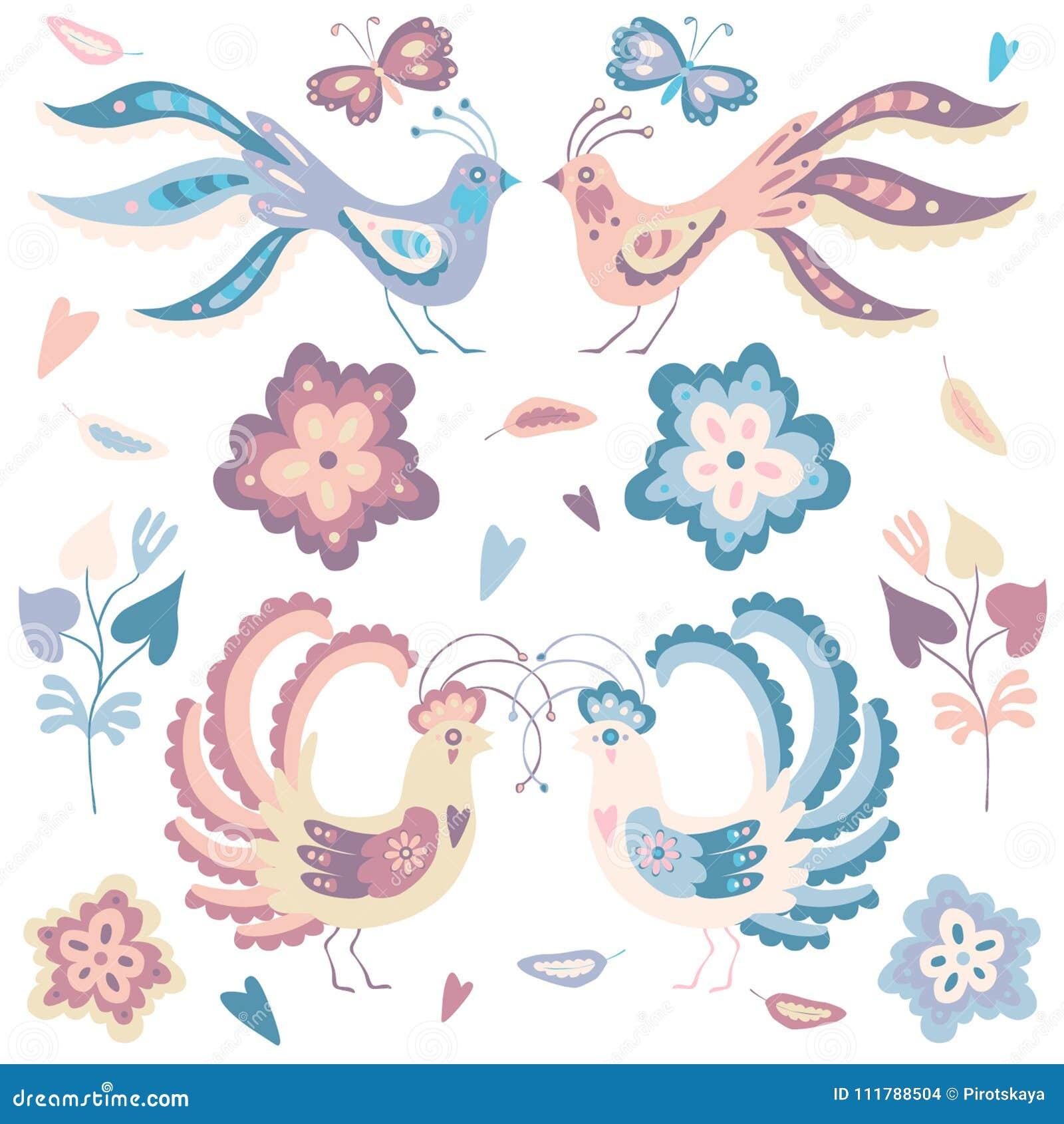 Reeks vogels blauwe en roze pastelkleuren
