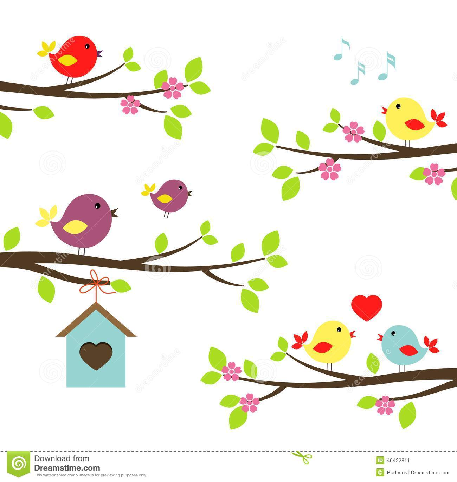 Reeks vogels op bloeiende takken