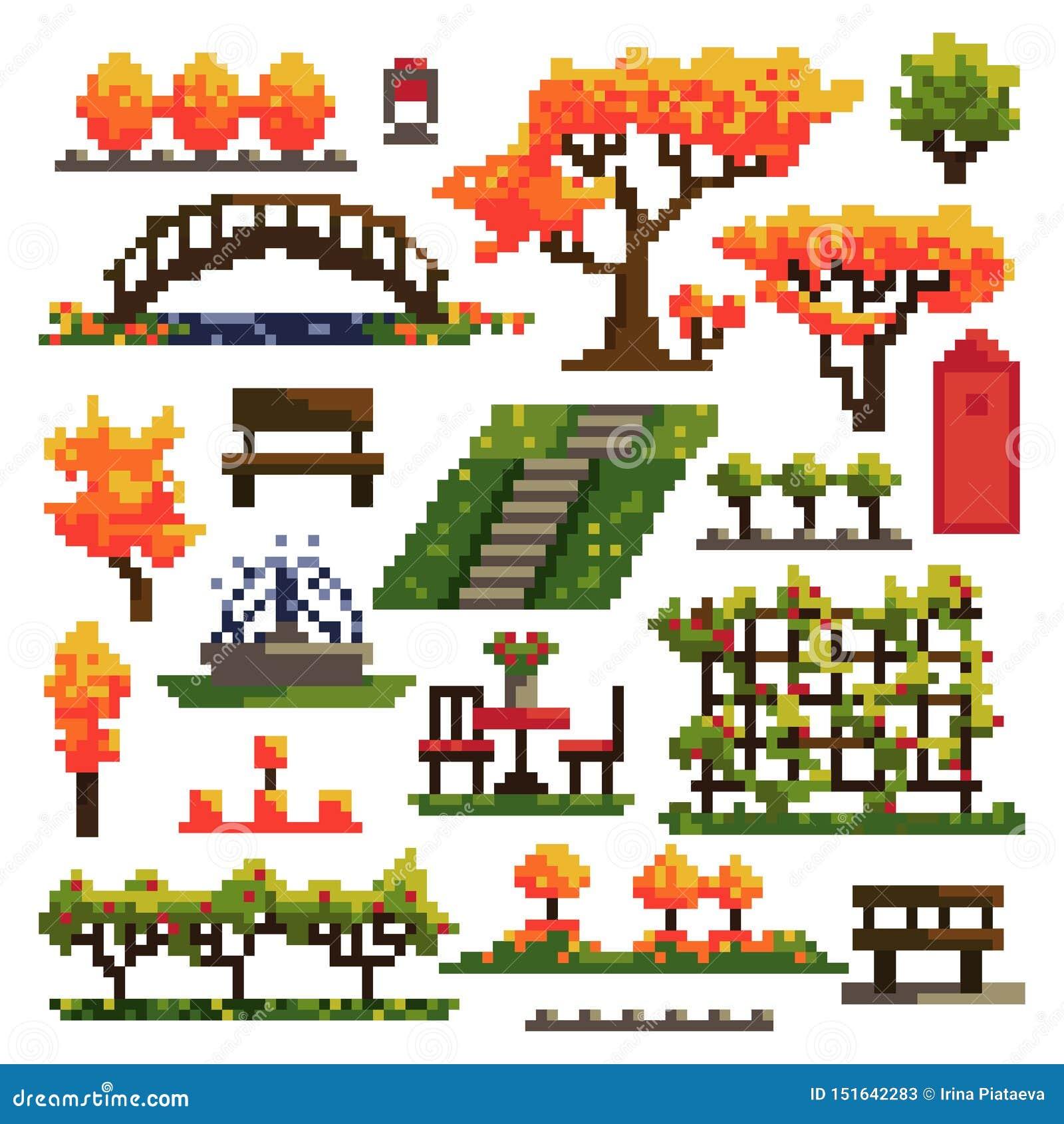 Reeks voorwerpen voor de herfstpark op witte achtergrond worden geïsoleerd die landscaping Het art Vector illustratie
