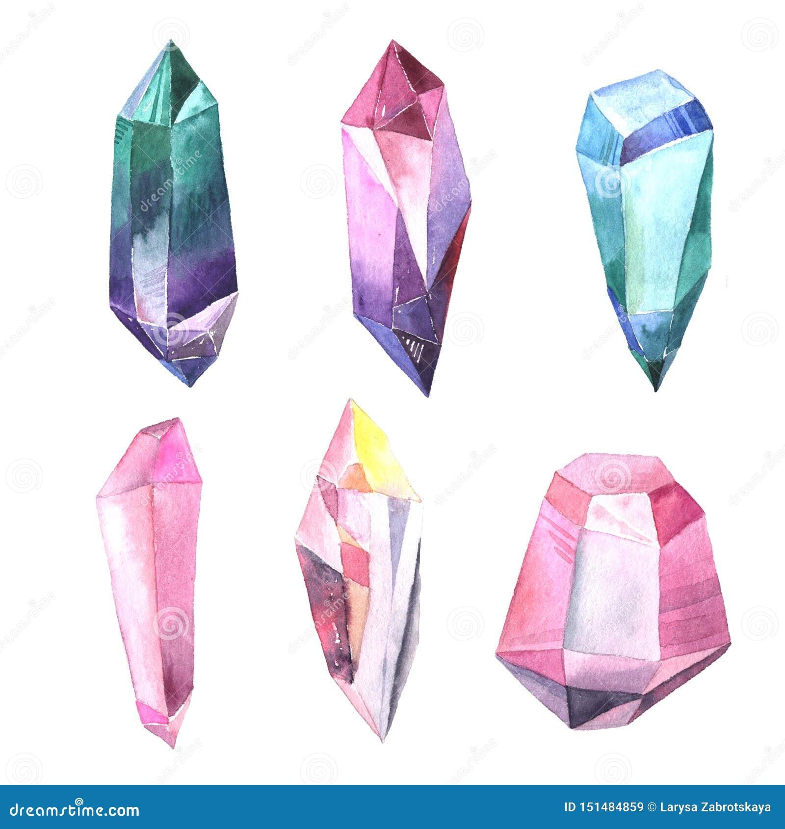 Reeks waterverf kleurrijke gemmen en kristallen