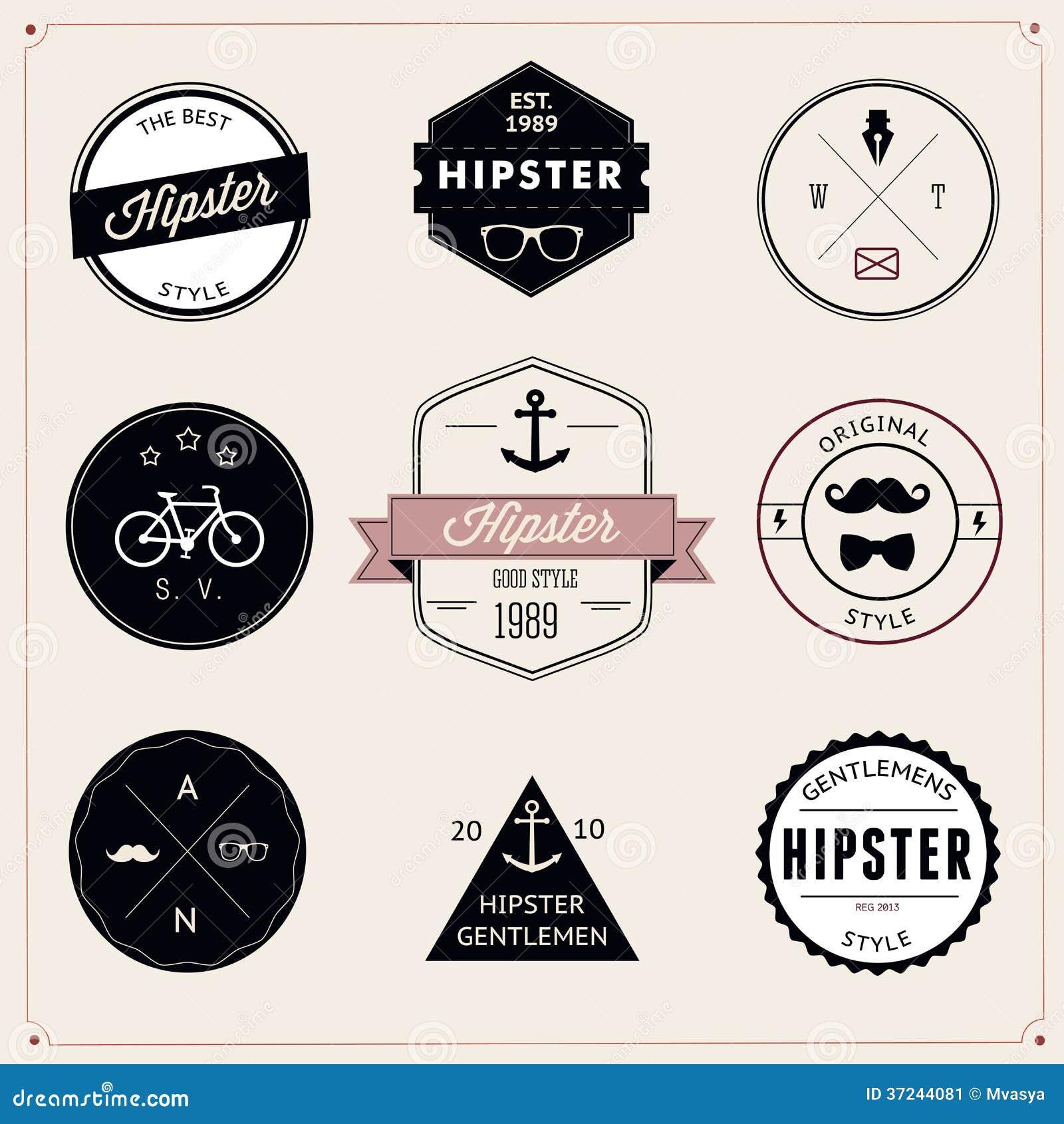 Reeks wijnoogst gestileerde ontwerp hipster pictogrammen. Vector