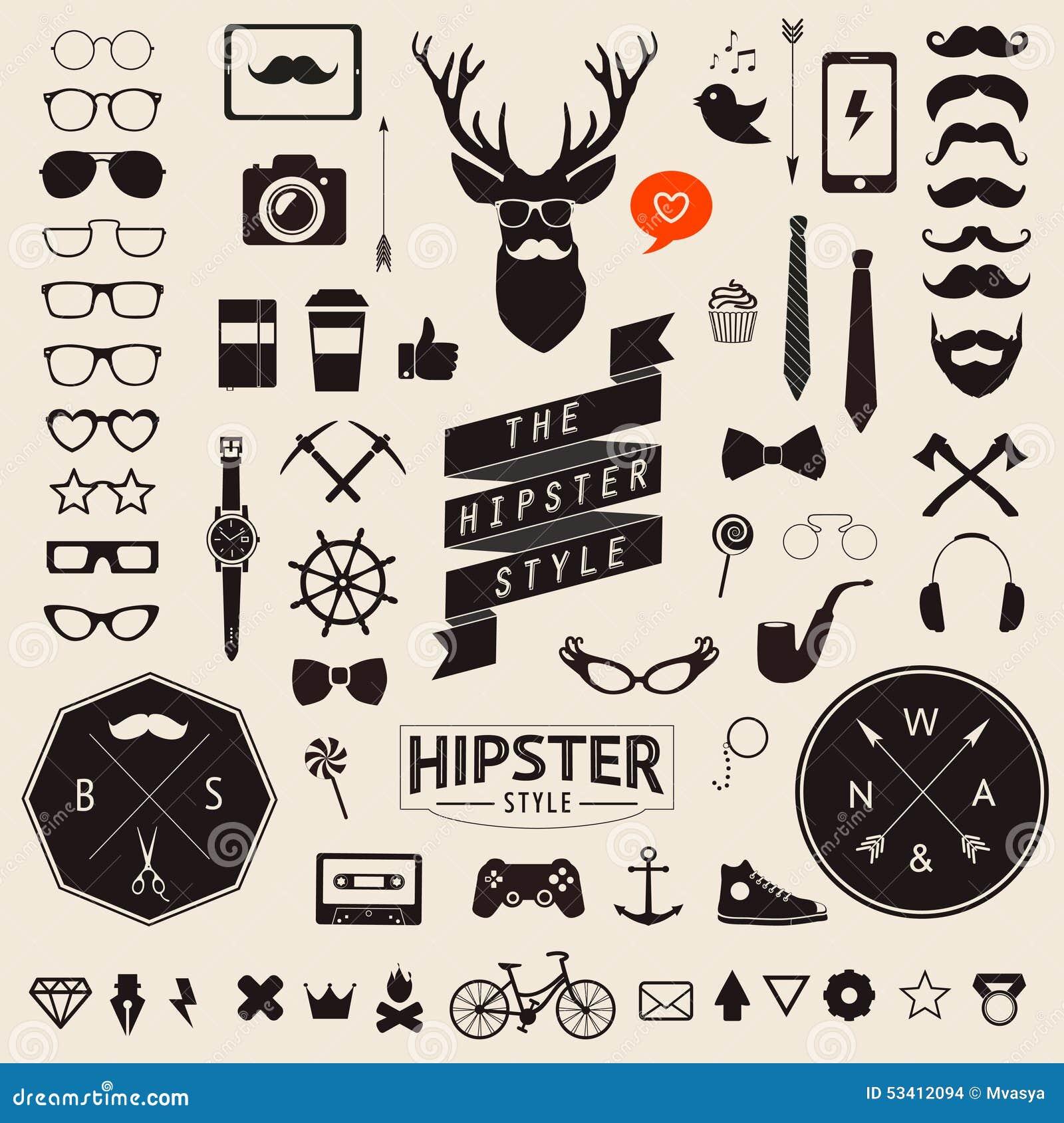 Reeks Wijnoogst gestileerde pictogrammen van ontwerphipster Vectortekens en symbolenmalplaatjes