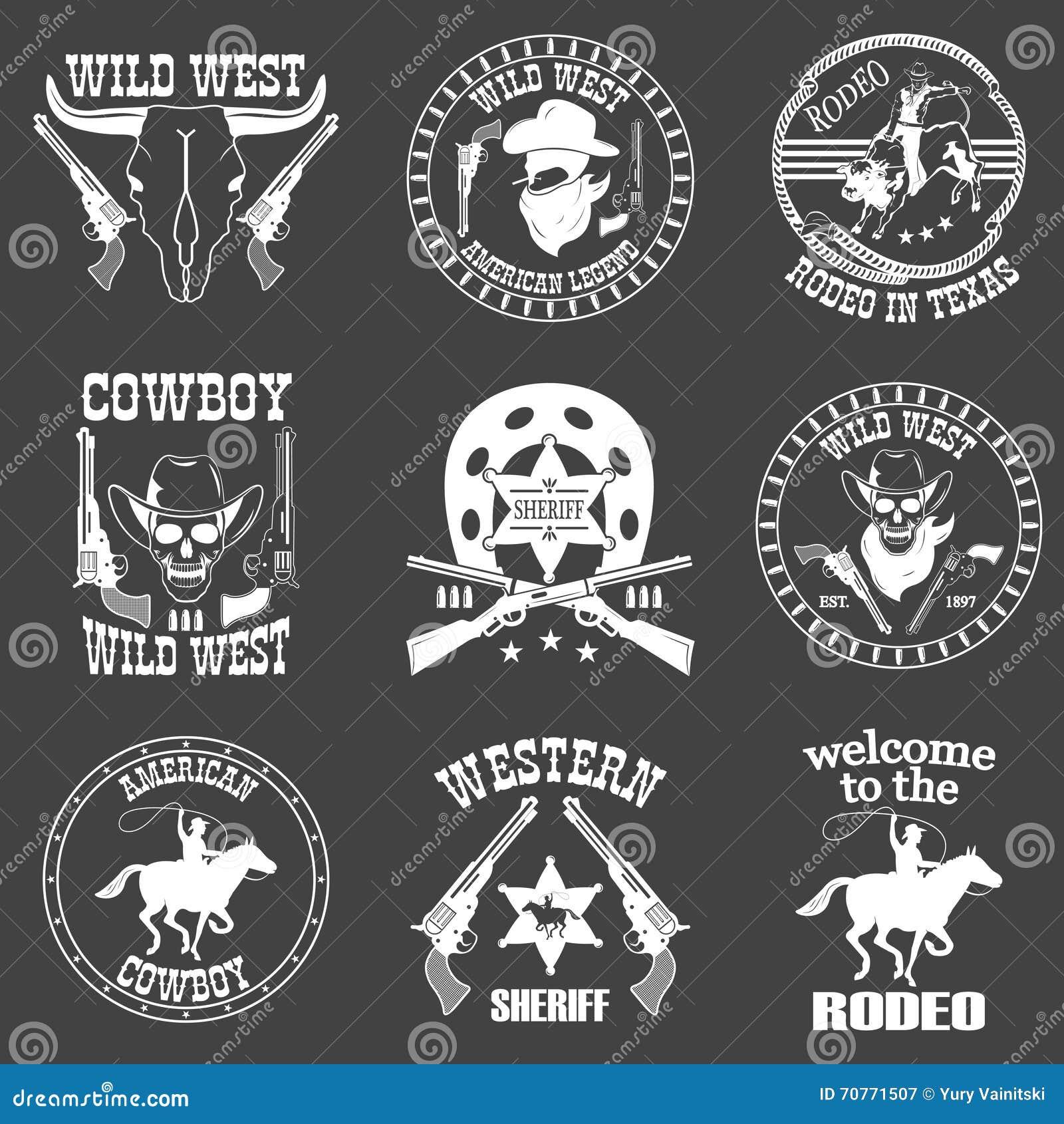 Reeks wilde het westencowboy ontworpen elementen