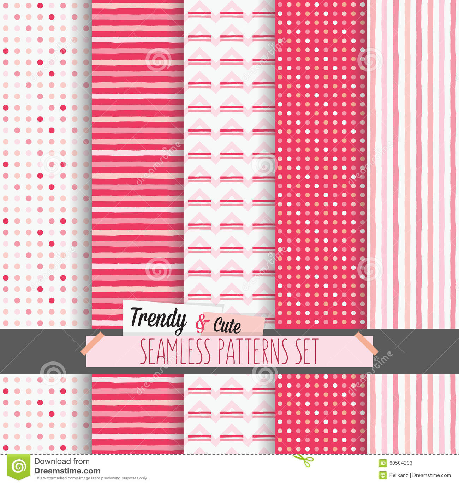 Reeks witte en roze gestippeld, strepen en chevron naadloze patronen