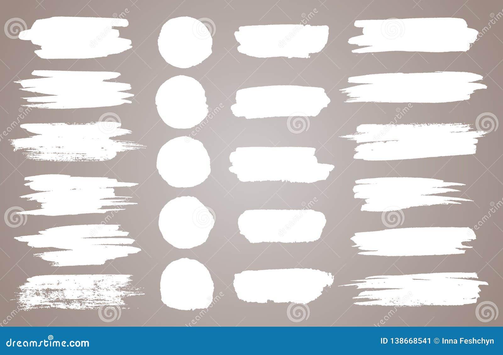 Reeks witte inkt vectorvlekken Vector zwarte verf, inktkwaststreek, borstel, lijn of ronde textuur Vuile artistiek