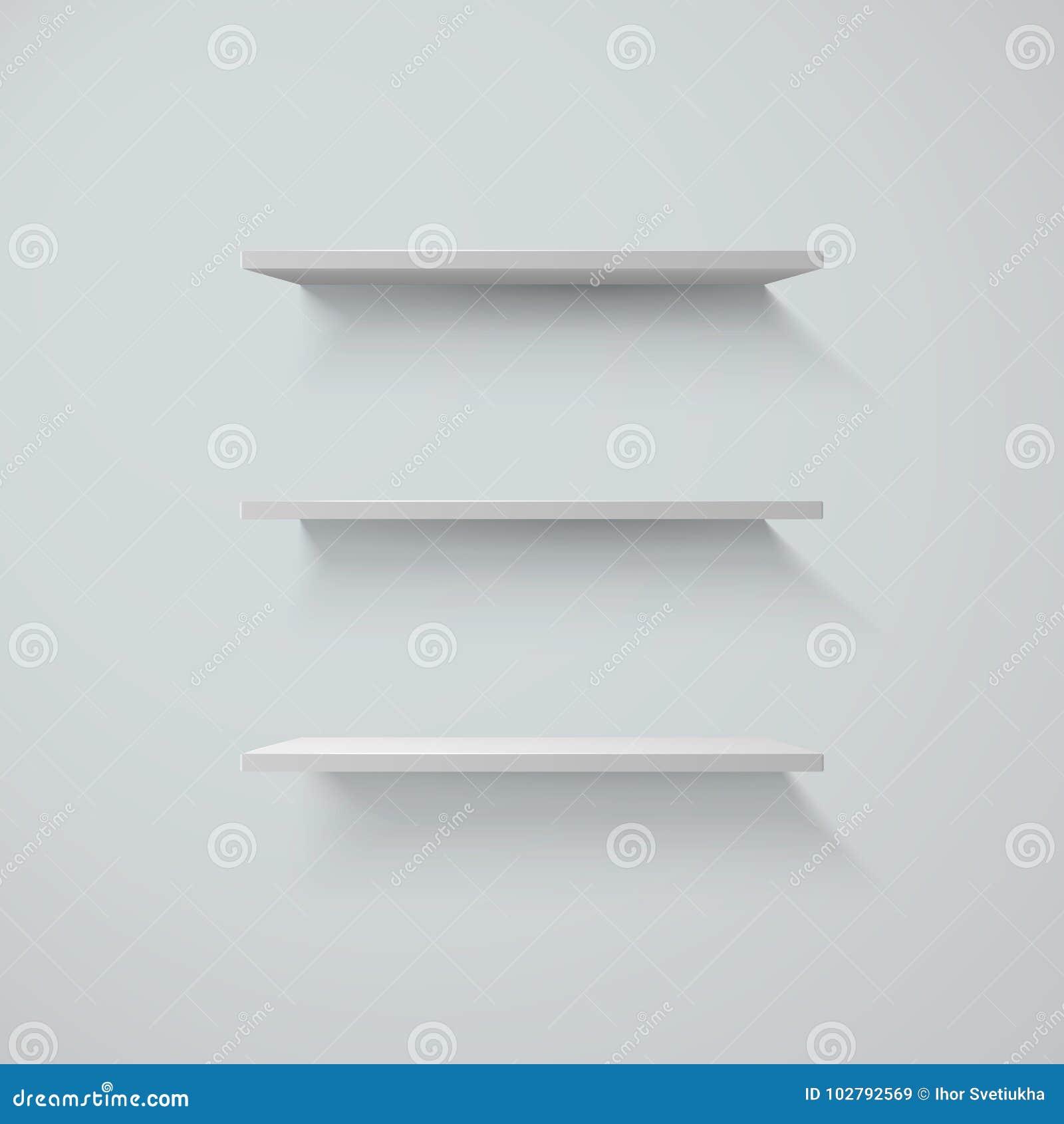 Reeks witte shelfs op een muur Vector illustratie