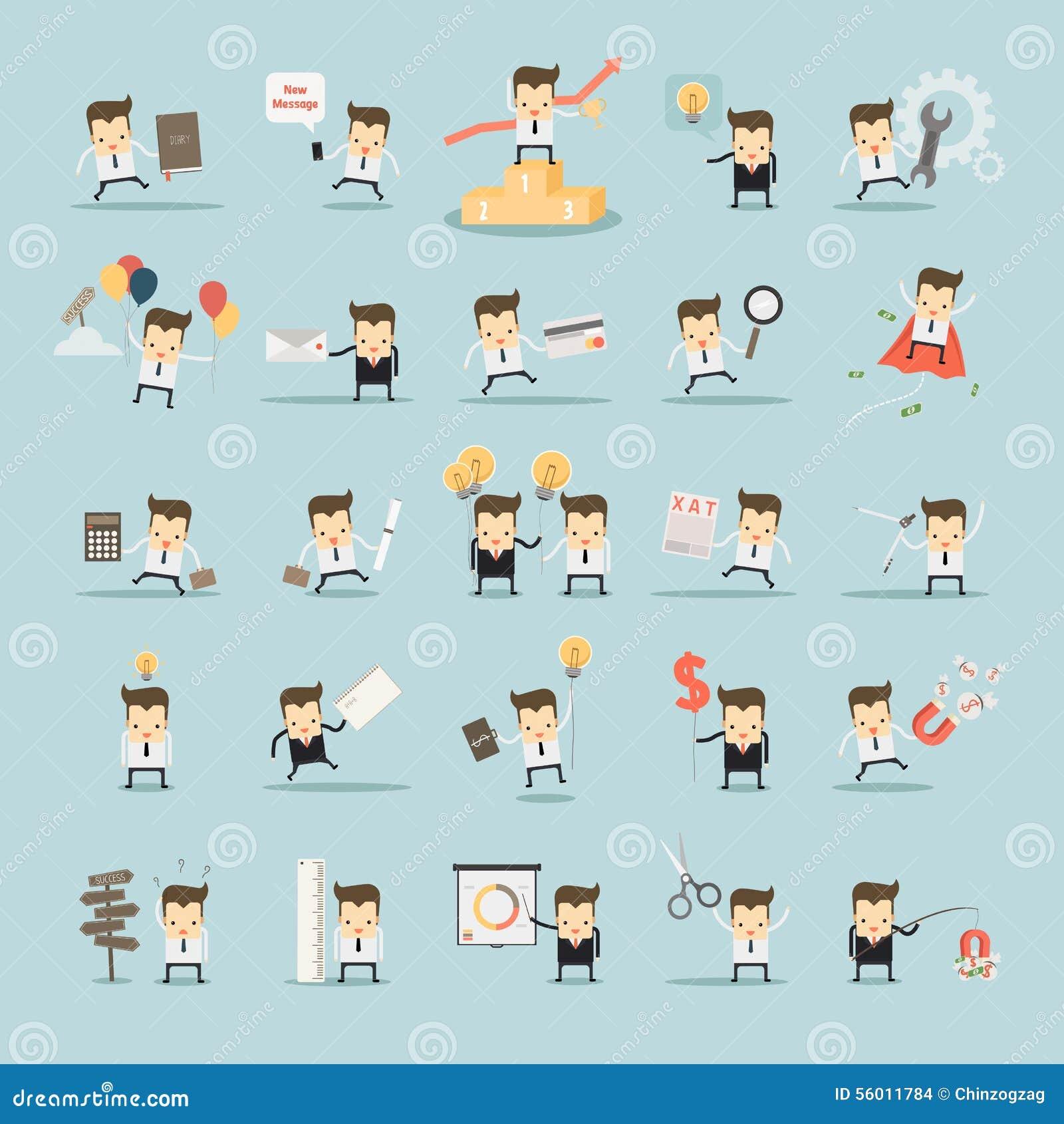 Reeks zakenmanactiviteiten op blauwe achtergrond
