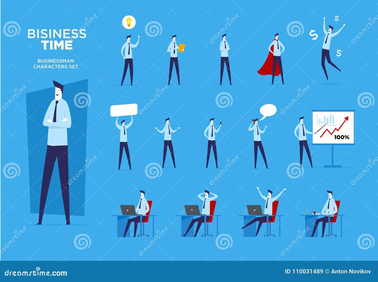 Reeks zakenmankarakters