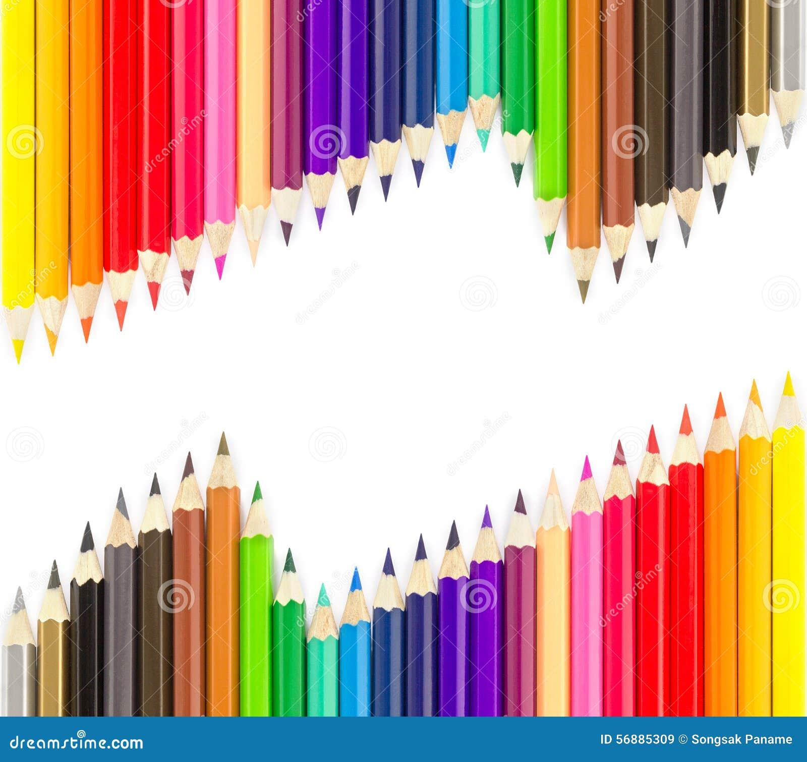 Reeksen kleurpotloden in rijen