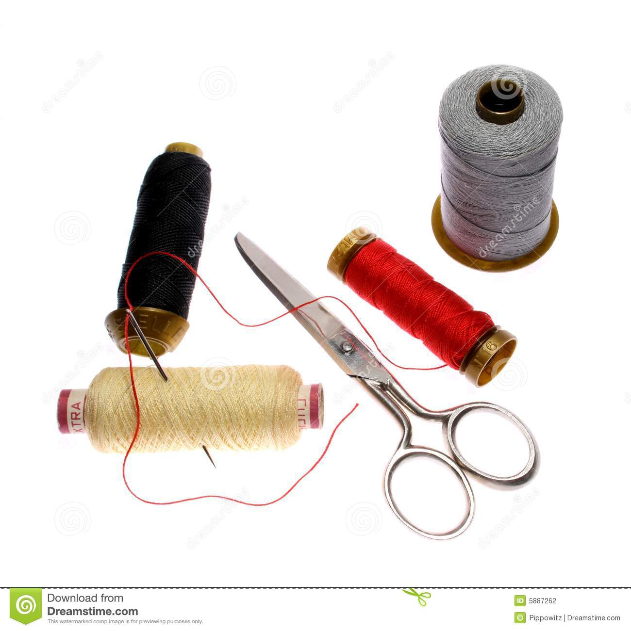 reels of thread needle and scissors stock photo image 5887262. Black Bedroom Furniture Sets. Home Design Ideas