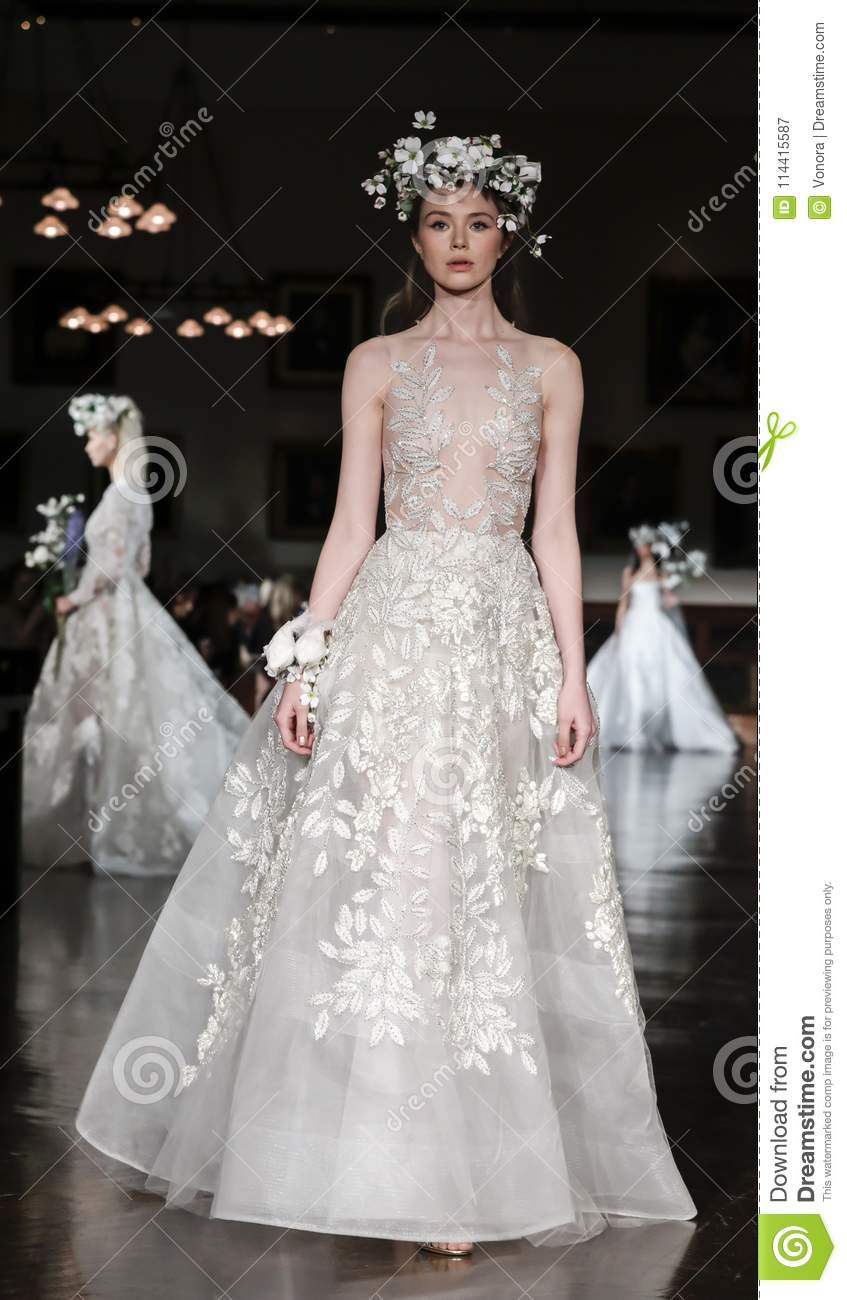dd41f47dacb6 New York, NY, USA - April 12, 2018: A model walks runway for Reem Acra  Bridal Spring/Summer 2019 collection during NY Bridal Wweek at NY Public  Library, ...