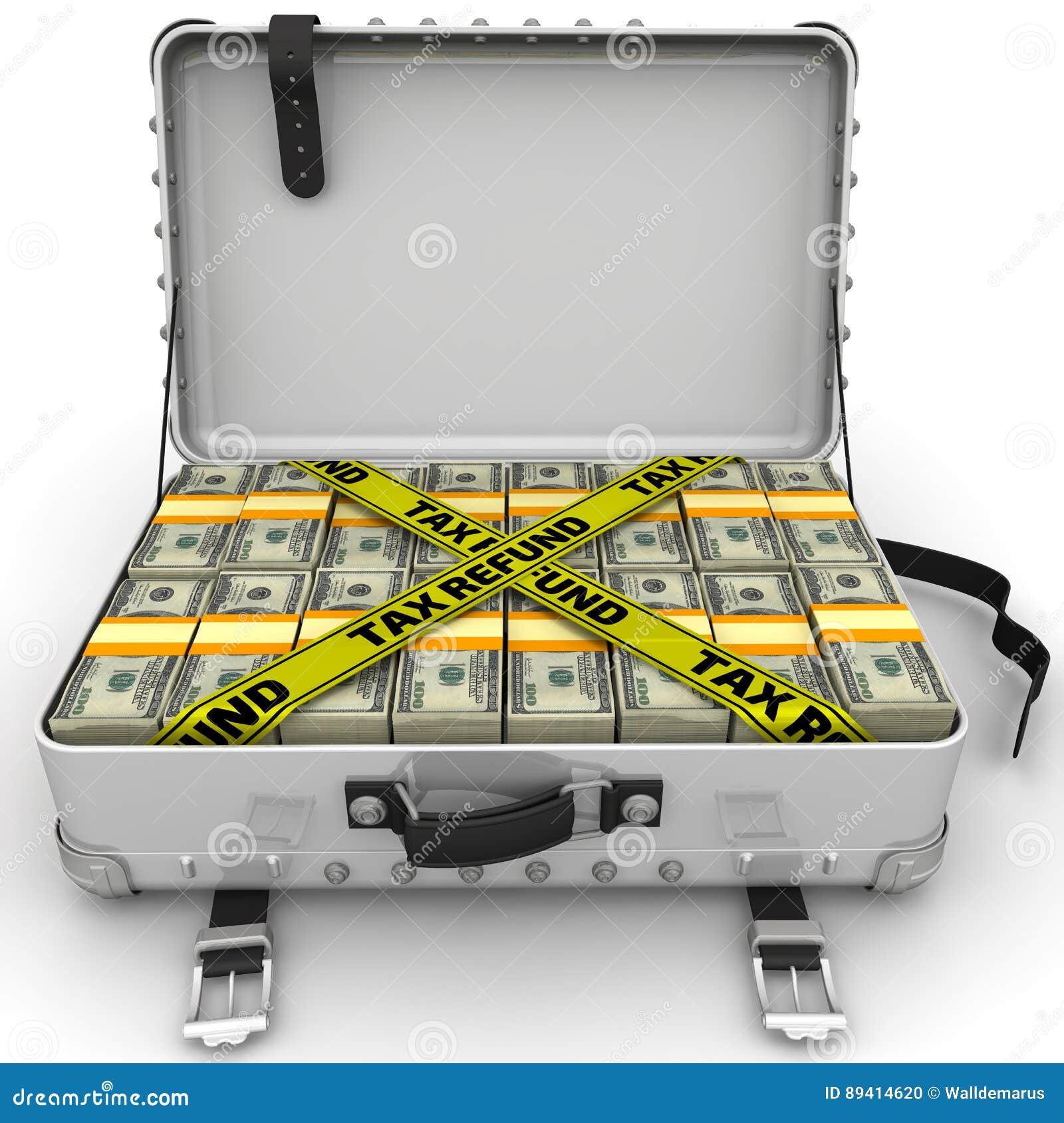Reembolso de imposto Mala de viagem completamente do dinheiro