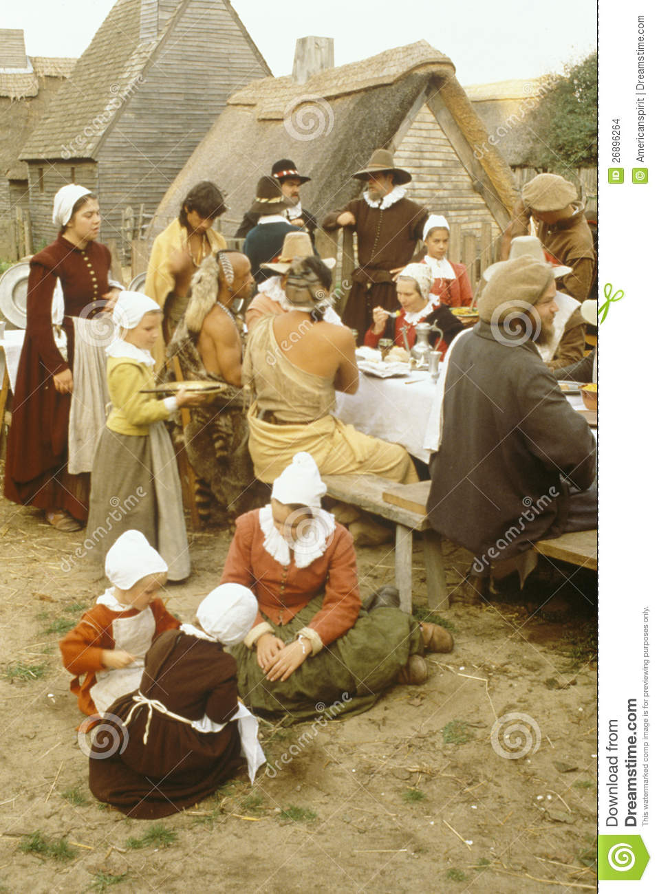 Reenactment Of Pilgrims And Indians Dining Editorial Stock